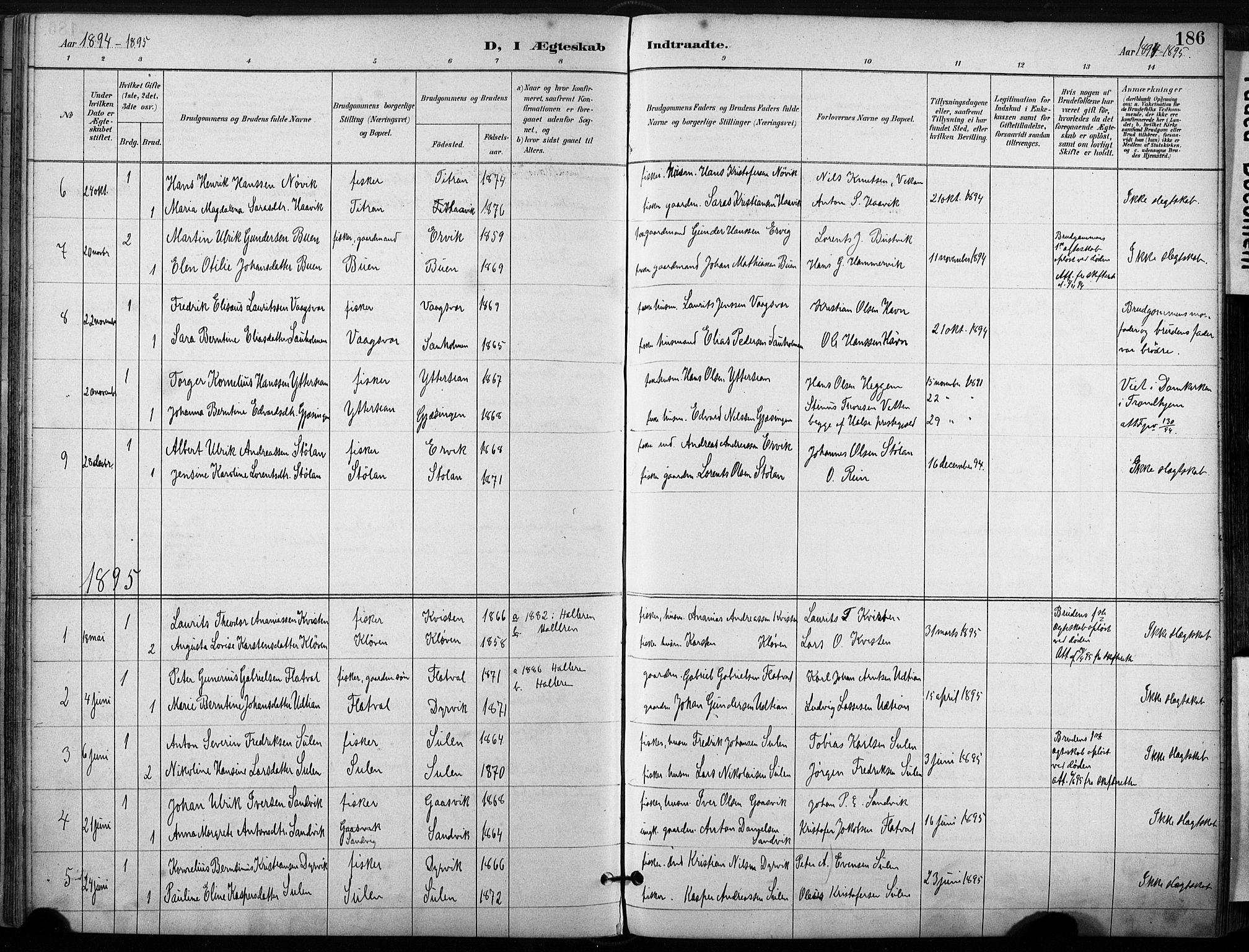 SAT, Ministerialprotokoller, klokkerbøker og fødselsregistre - Sør-Trøndelag, 640/L0579: Ministerialbok nr. 640A04, 1889-1902, s. 186