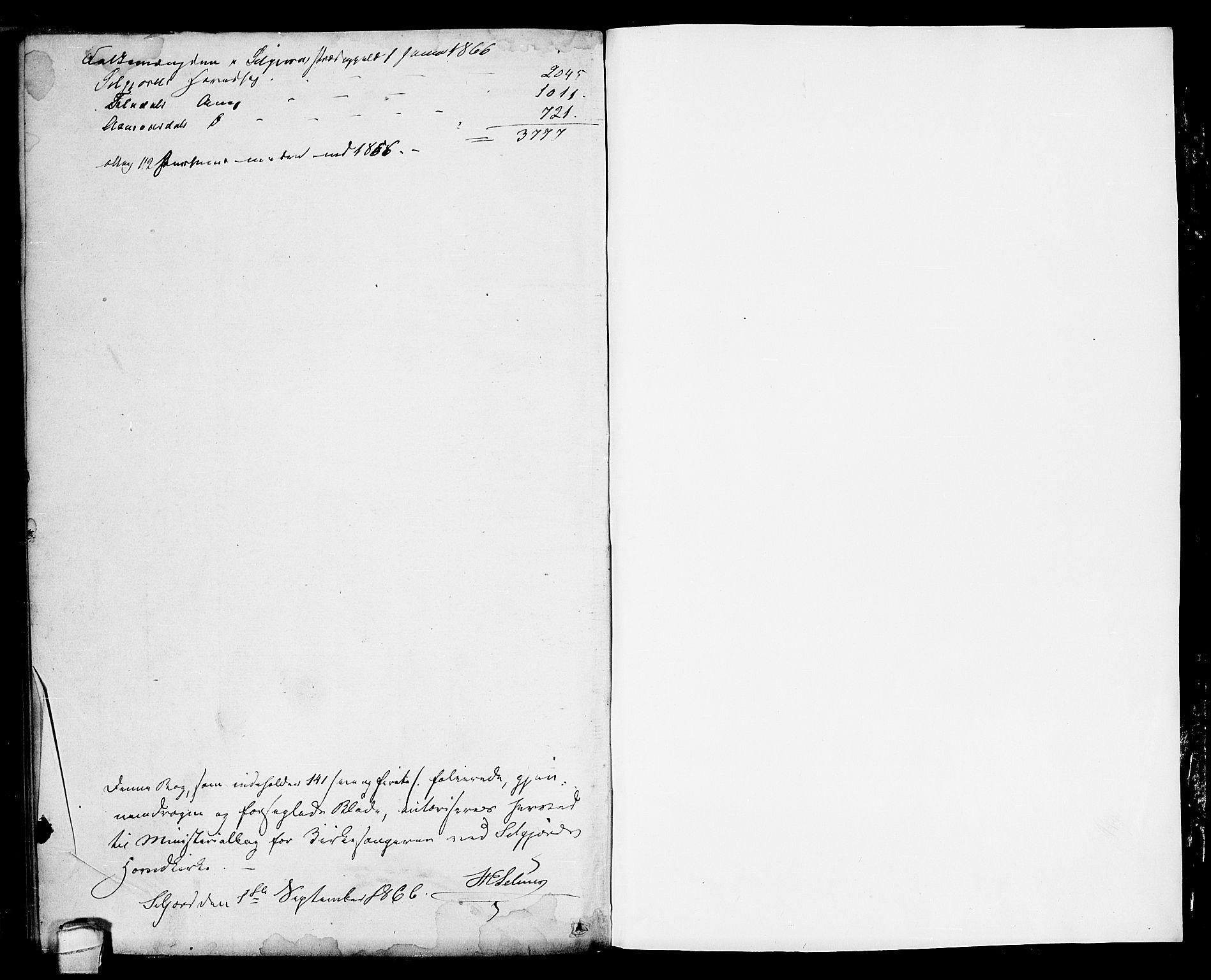 SAKO, Seljord kirkebøker, G/Ga/L0003: Klokkerbok nr. I 3, 1866-1873