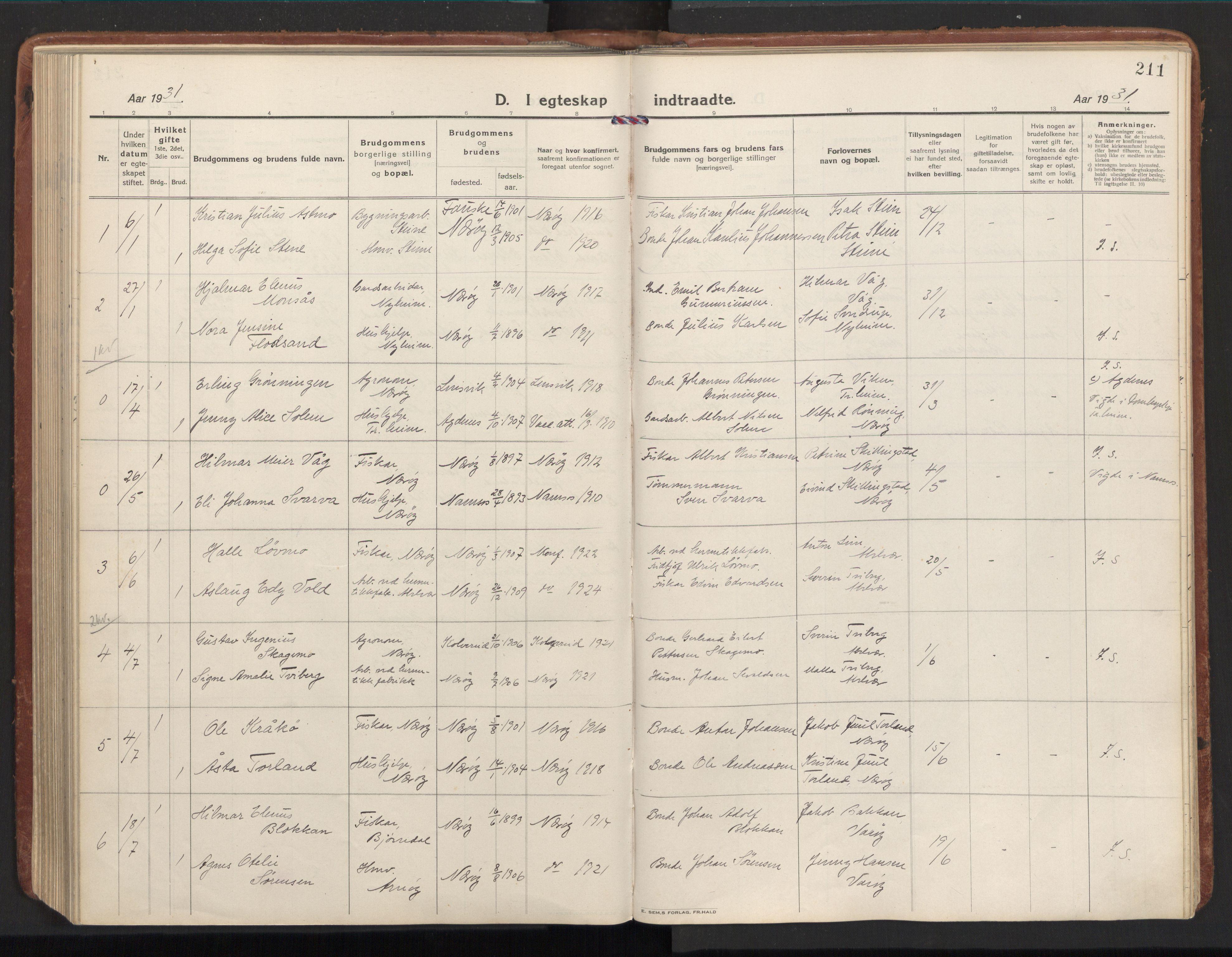 SAT, Ministerialprotokoller, klokkerbøker og fødselsregistre - Nord-Trøndelag, 784/L0678: Ministerialbok nr. 784A13, 1921-1938, s. 211