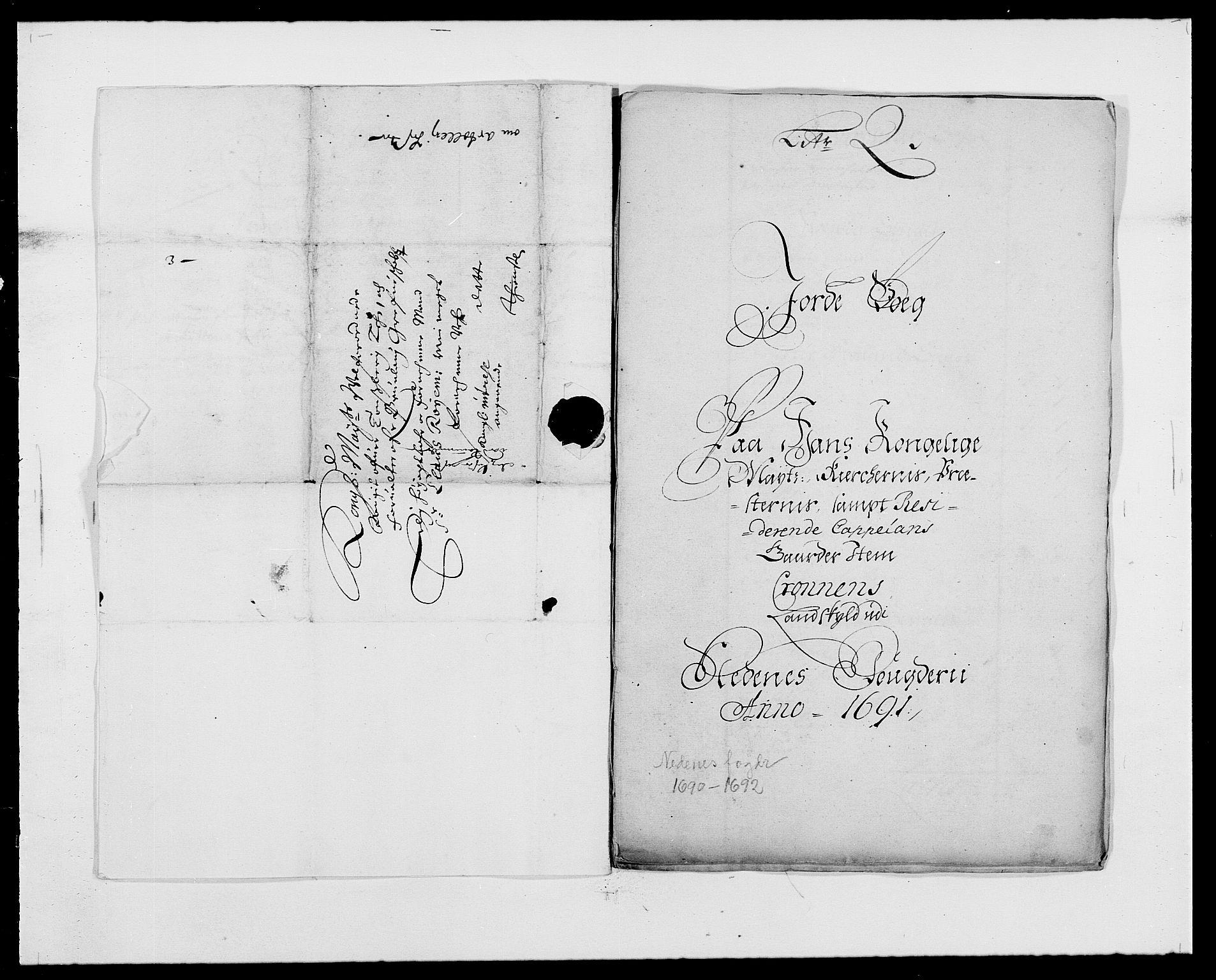 RA, Rentekammeret inntil 1814, Reviderte regnskaper, Fogderegnskap, R39/L2311: Fogderegnskap Nedenes, 1690-1692, s. 4