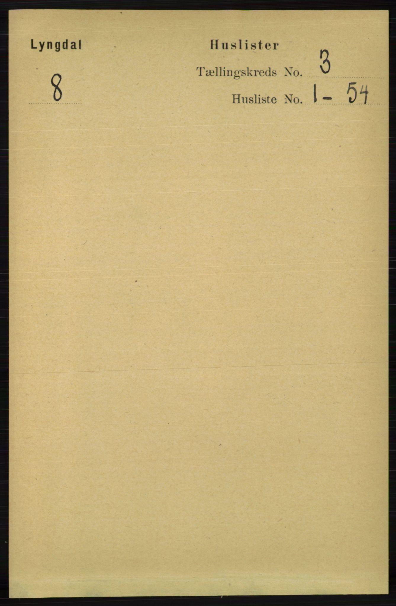 RA, Folketelling 1891 for 1032 Lyngdal herred, 1891, s. 1029