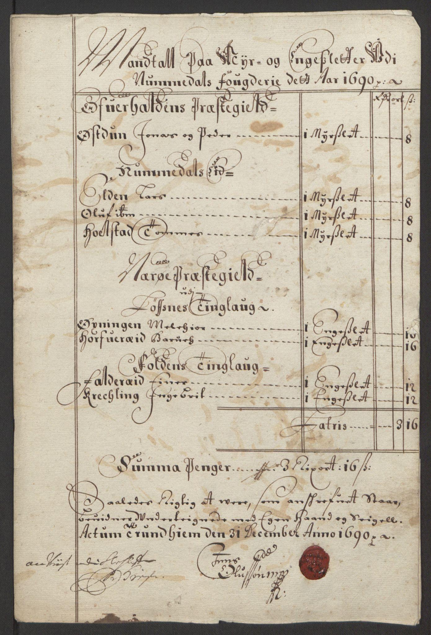 RA, Rentekammeret inntil 1814, Reviderte regnskaper, Fogderegnskap, R64/L4423: Fogderegnskap Namdal, 1690-1691, s. 11