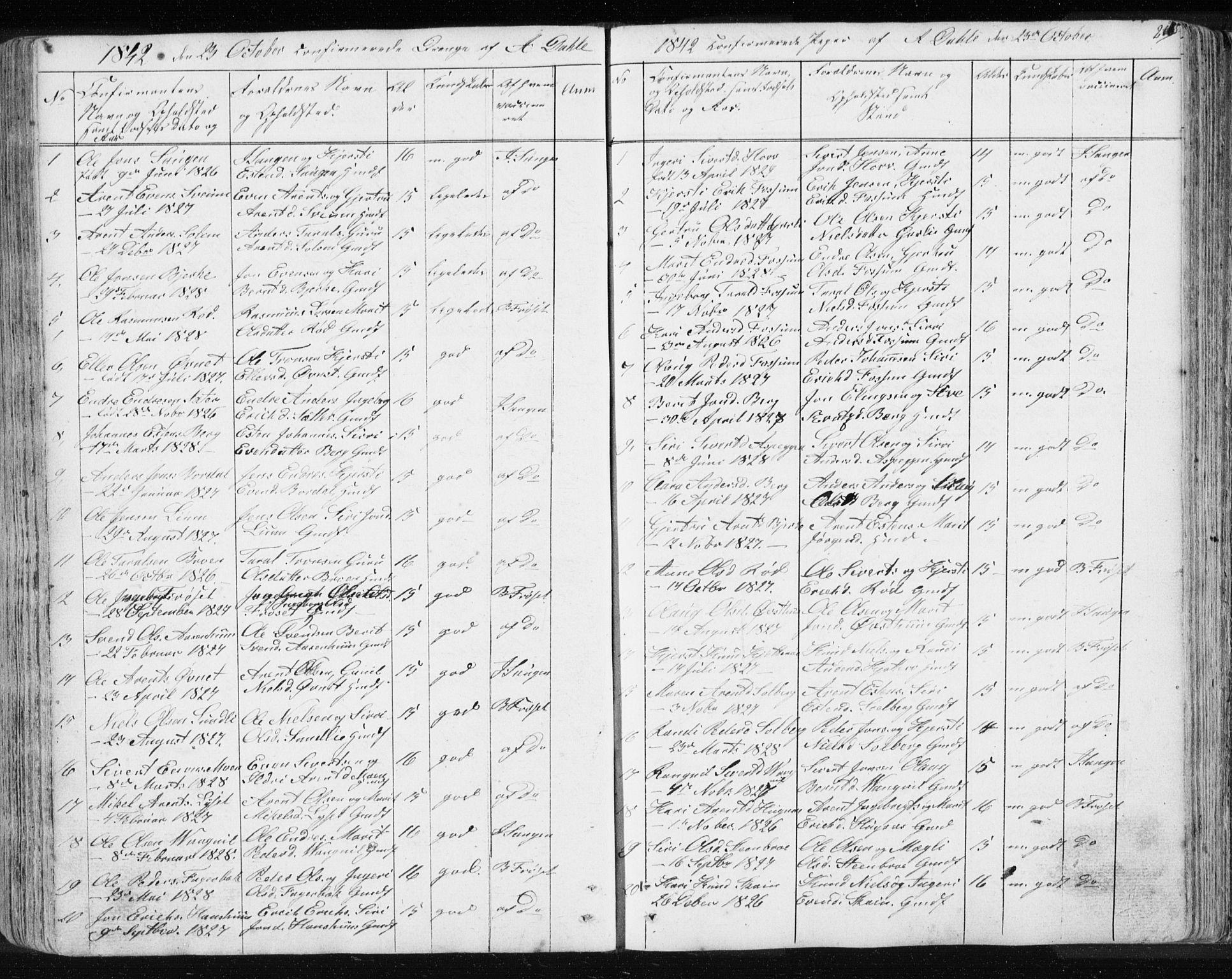 SAT, Ministerialprotokoller, klokkerbøker og fødselsregistre - Sør-Trøndelag, 689/L1043: Klokkerbok nr. 689C02, 1816-1892, s. 265