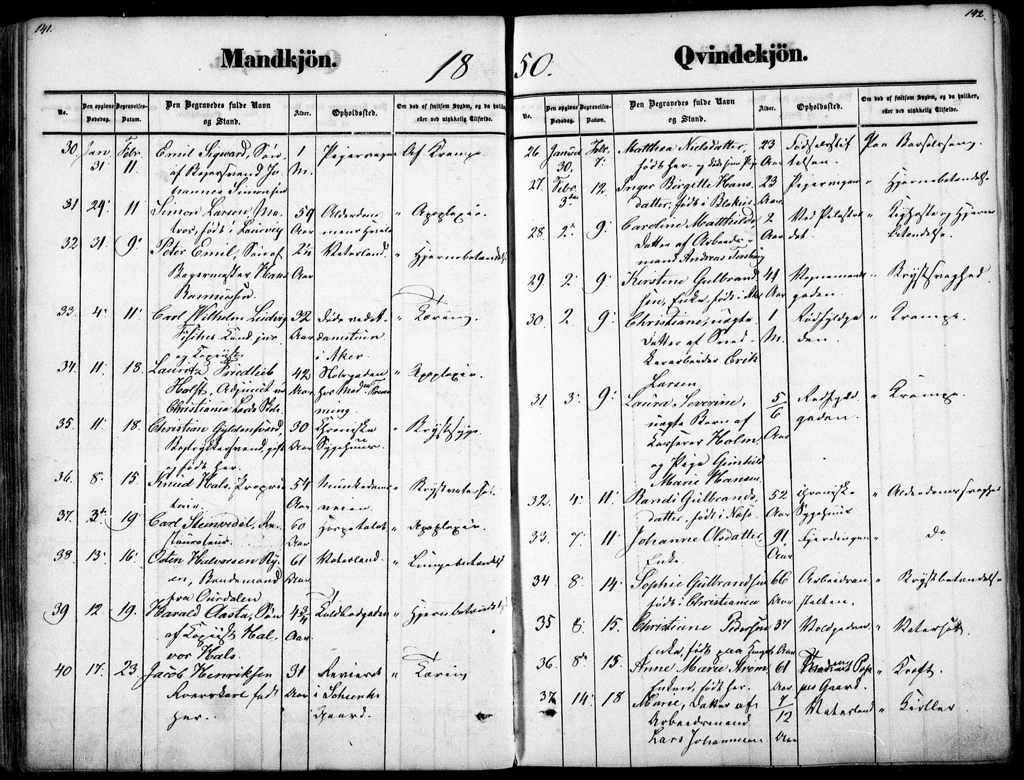 SAO, Oslo domkirke Kirkebøker, F/Fa/L0025: Ministerialbok nr. 25, 1847-1867, s. 141-142