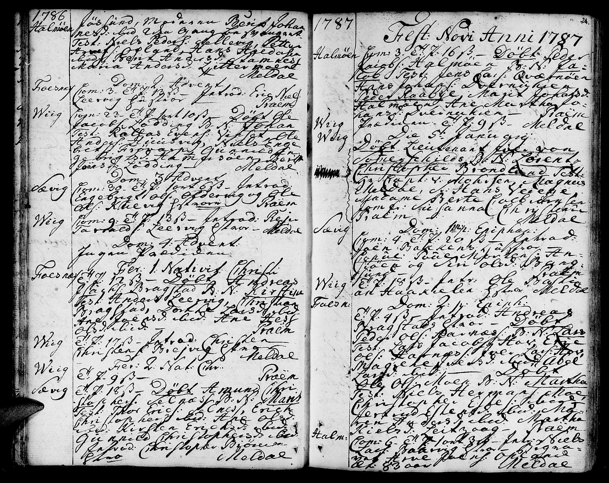 SAT, Ministerialprotokoller, klokkerbøker og fødselsregistre - Nord-Trøndelag, 773/L0608: Ministerialbok nr. 773A02, 1784-1816, s. 24