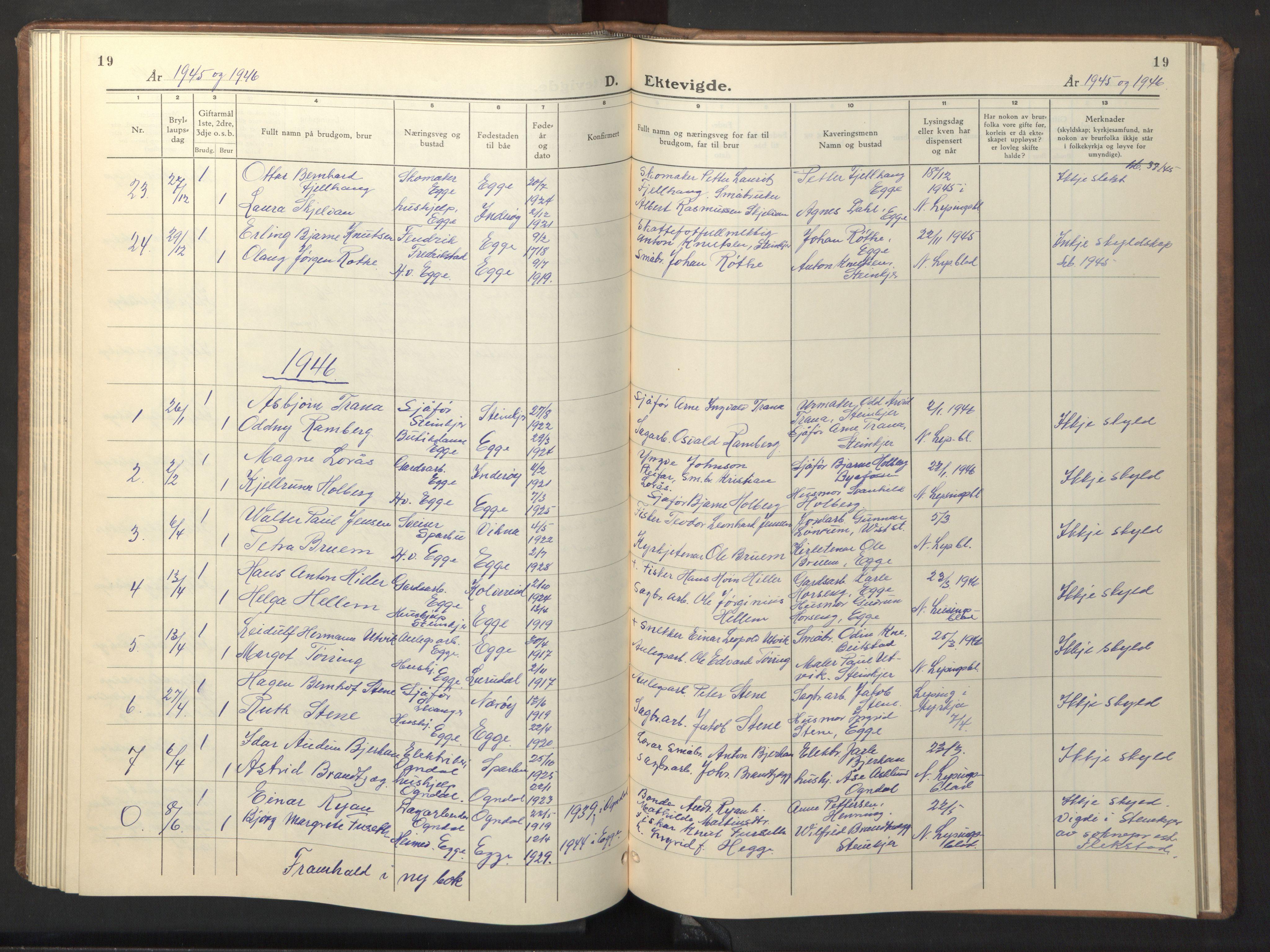 SAT, Ministerialprotokoller, klokkerbøker og fødselsregistre - Nord-Trøndelag, 740/L0384: Klokkerbok nr. 740C05, 1939-1946, s. 19