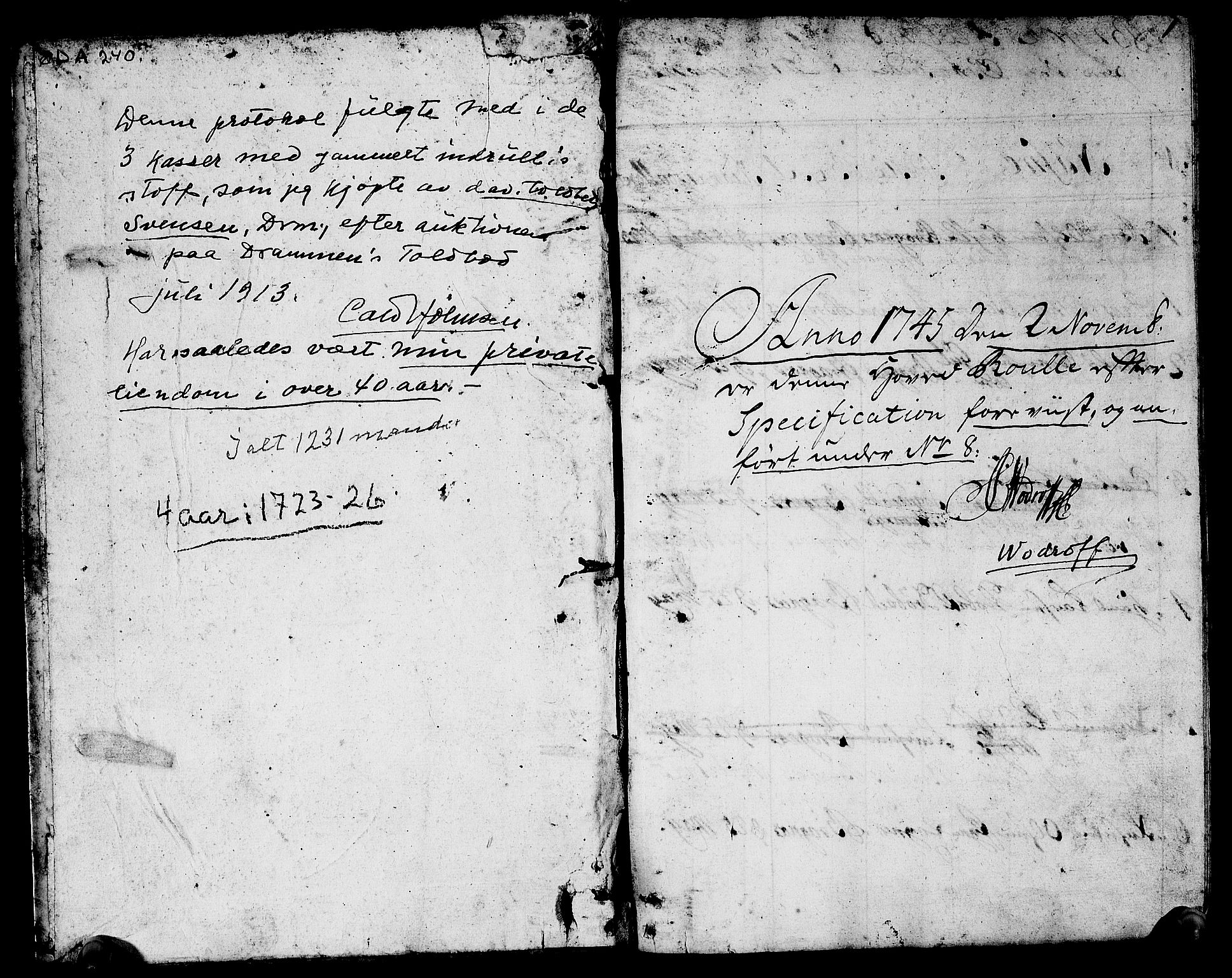 SAKO, Drammen innrulleringsdistrikt, F/Fa/L0002: Hovedrulle, 1723-1726, s. 2
