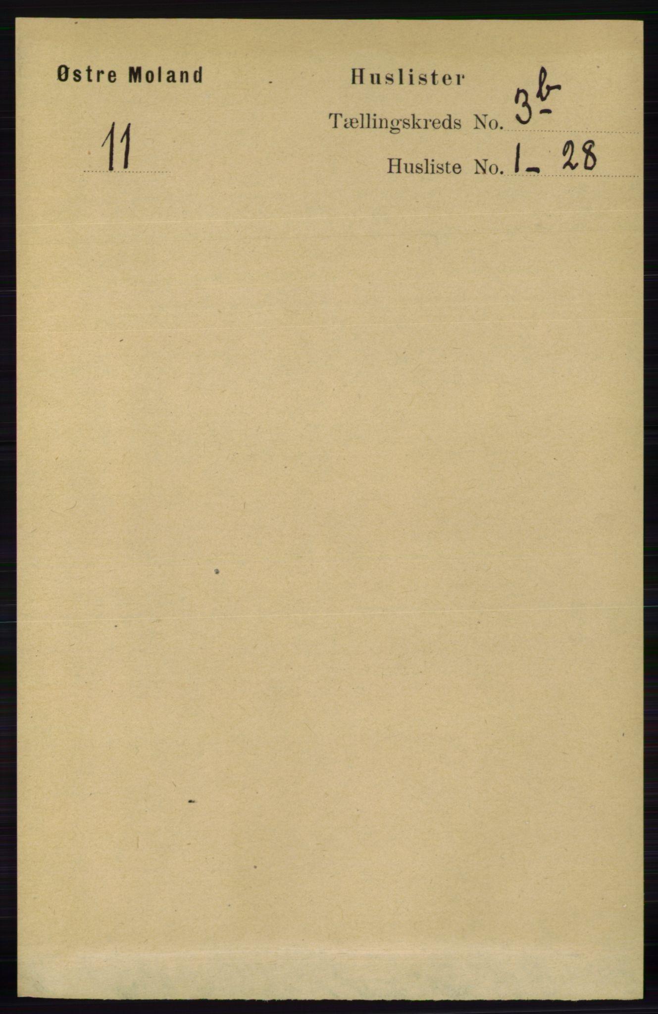 RA, Folketelling 1891 for 0918 Austre Moland herred, 1891, s. 1711