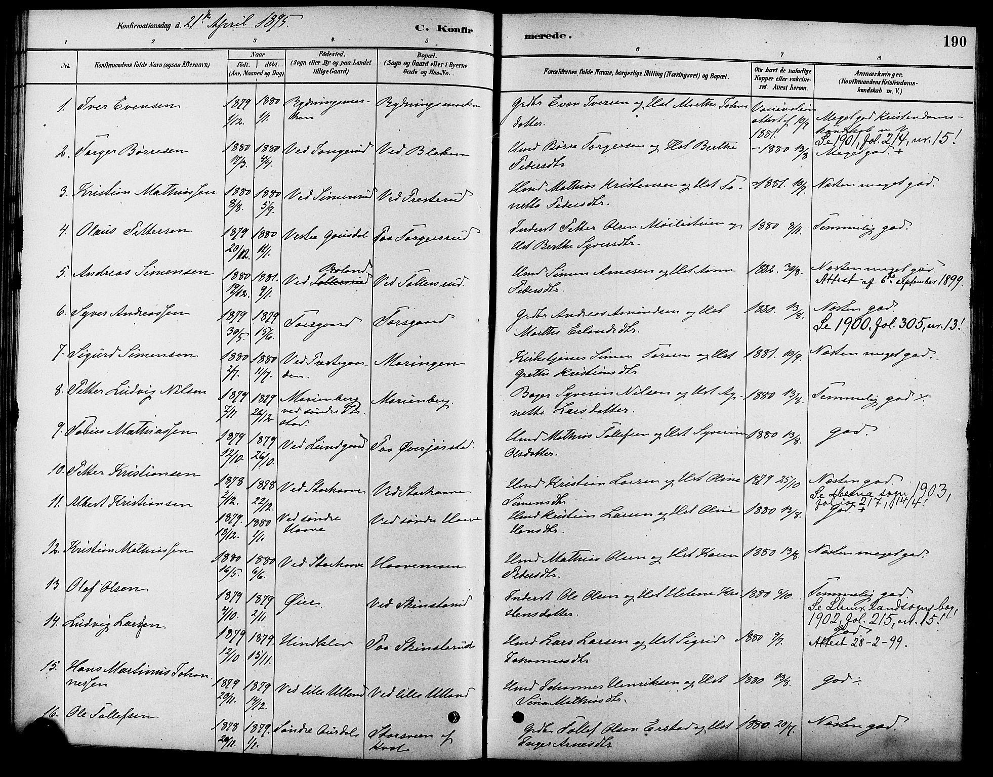 SAH, Fåberg prestekontor, Ministerialbok nr. 8, 1879-1898, s. 190