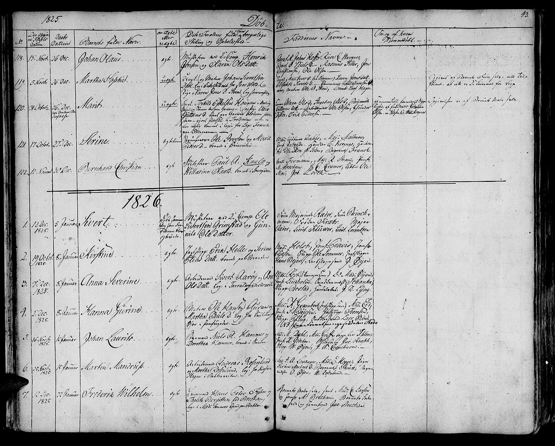 SAT, Ministerialprotokoller, klokkerbøker og fødselsregistre - Sør-Trøndelag, 602/L0108: Ministerialbok nr. 602A06, 1821-1839, s. 43
