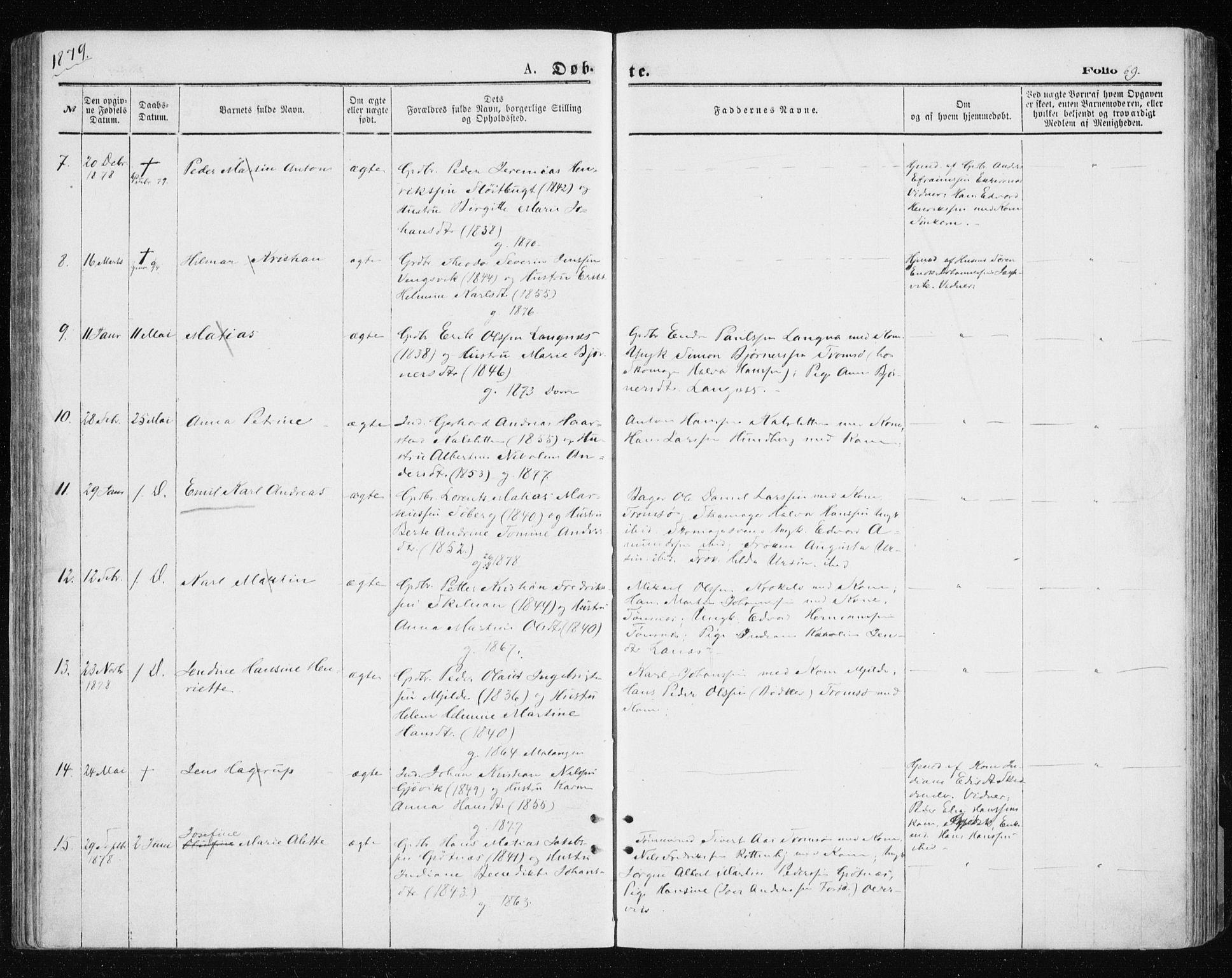 SATØ, Tromsøysund sokneprestkontor, G/Ga/L0003kirke: Ministerialbok nr. 3, 1875-1880, s. 69