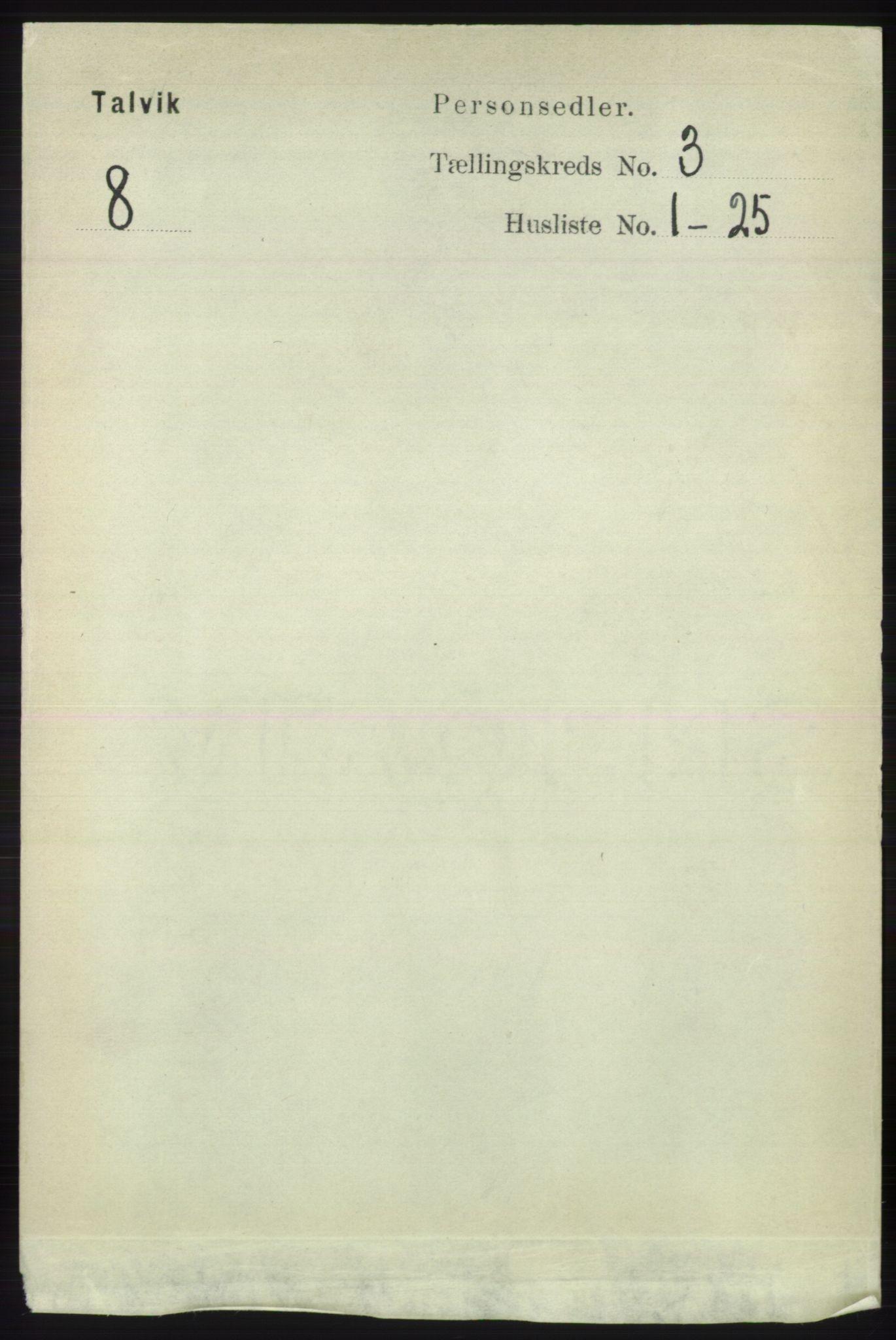 RA, Folketelling 1891 for 2013 Talvik herred, 1891, s. 722