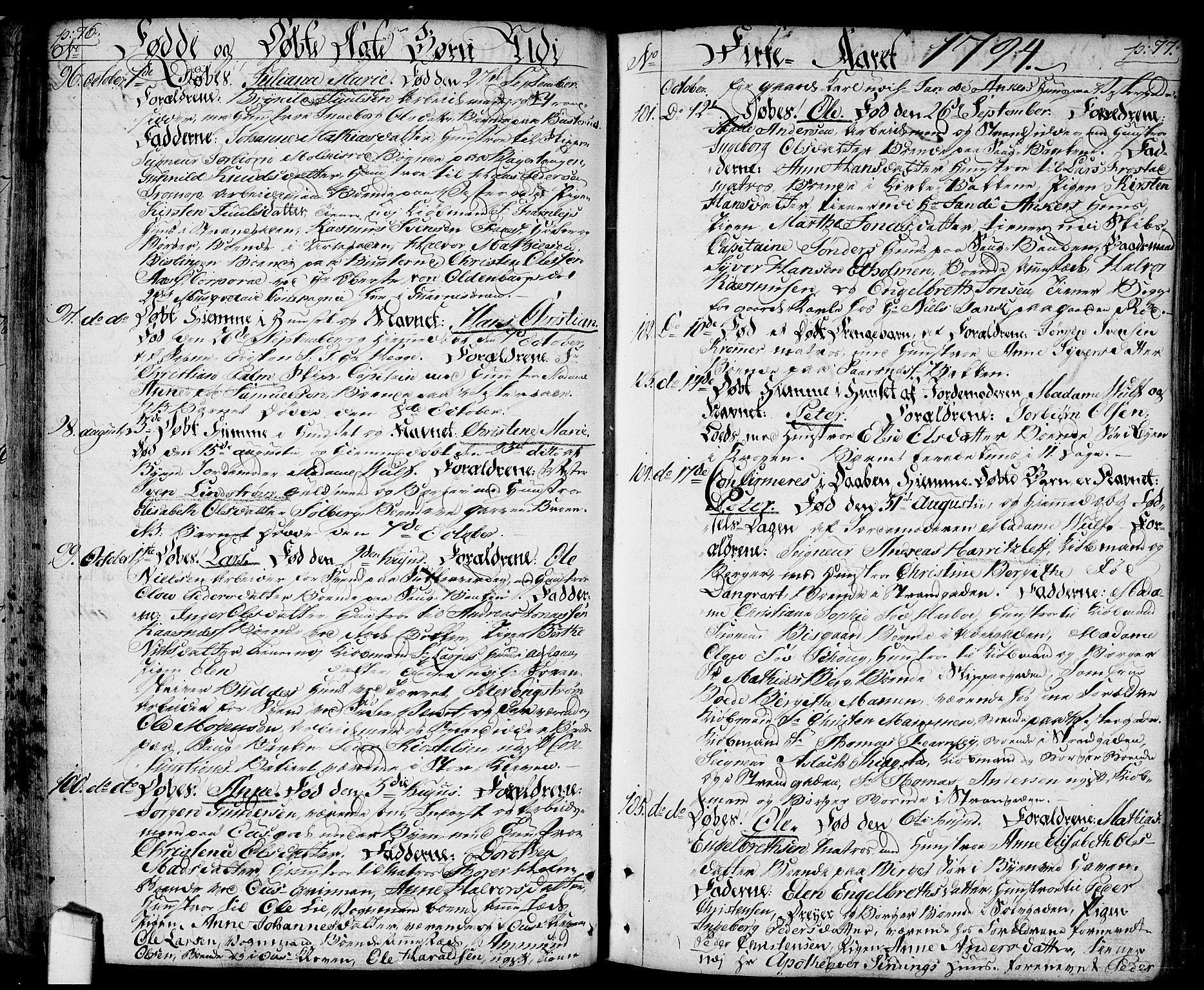 SAO, Halden prestekontor Kirkebøker, F/Fa/L0002: Ministerialbok nr. I 2, 1792-1812, s. 76-77