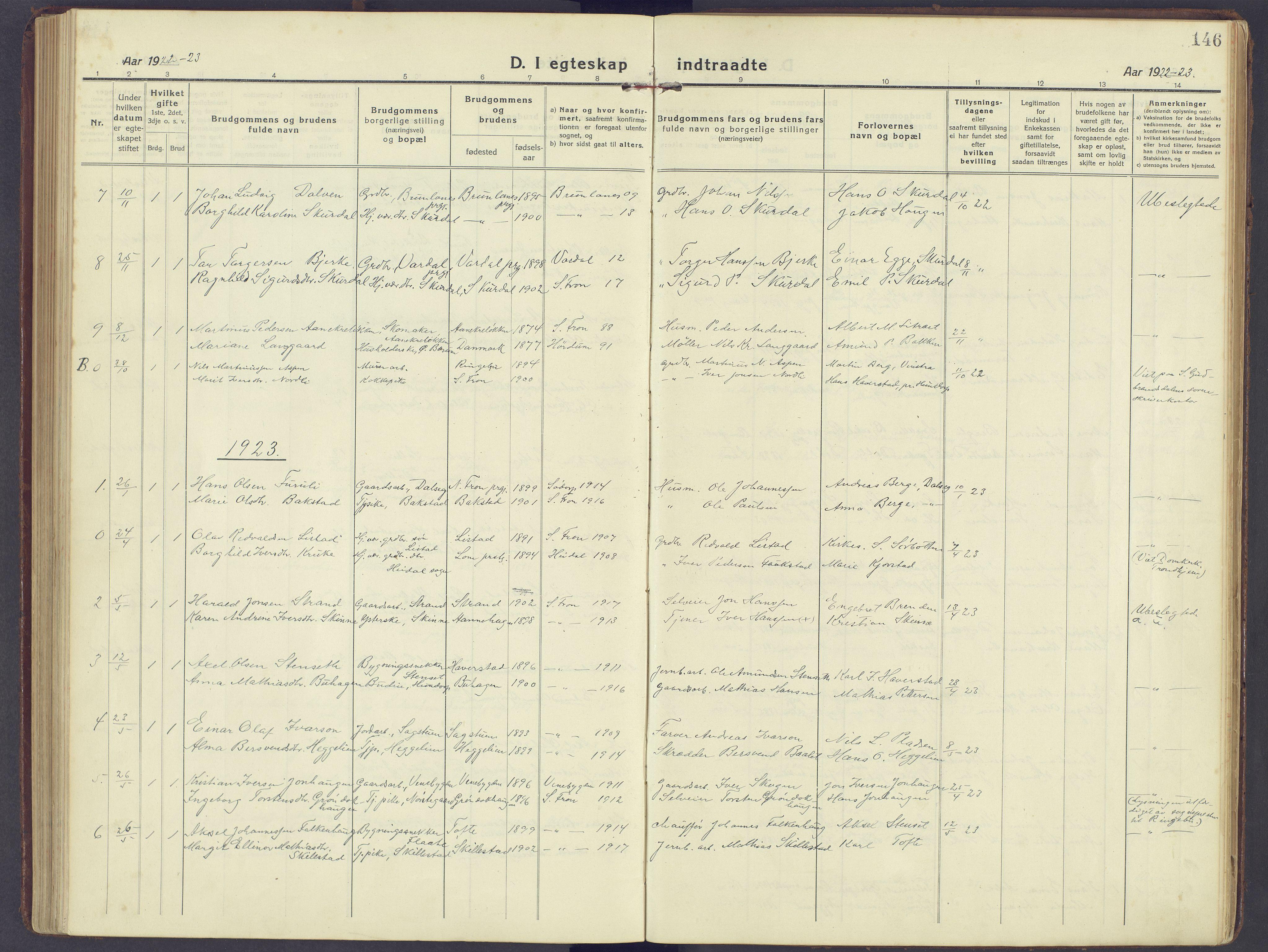 SAH, Sør-Fron prestekontor, H/Ha/Haa/L0005: Ministerialbok nr. 5, 1920-1933, s. 146