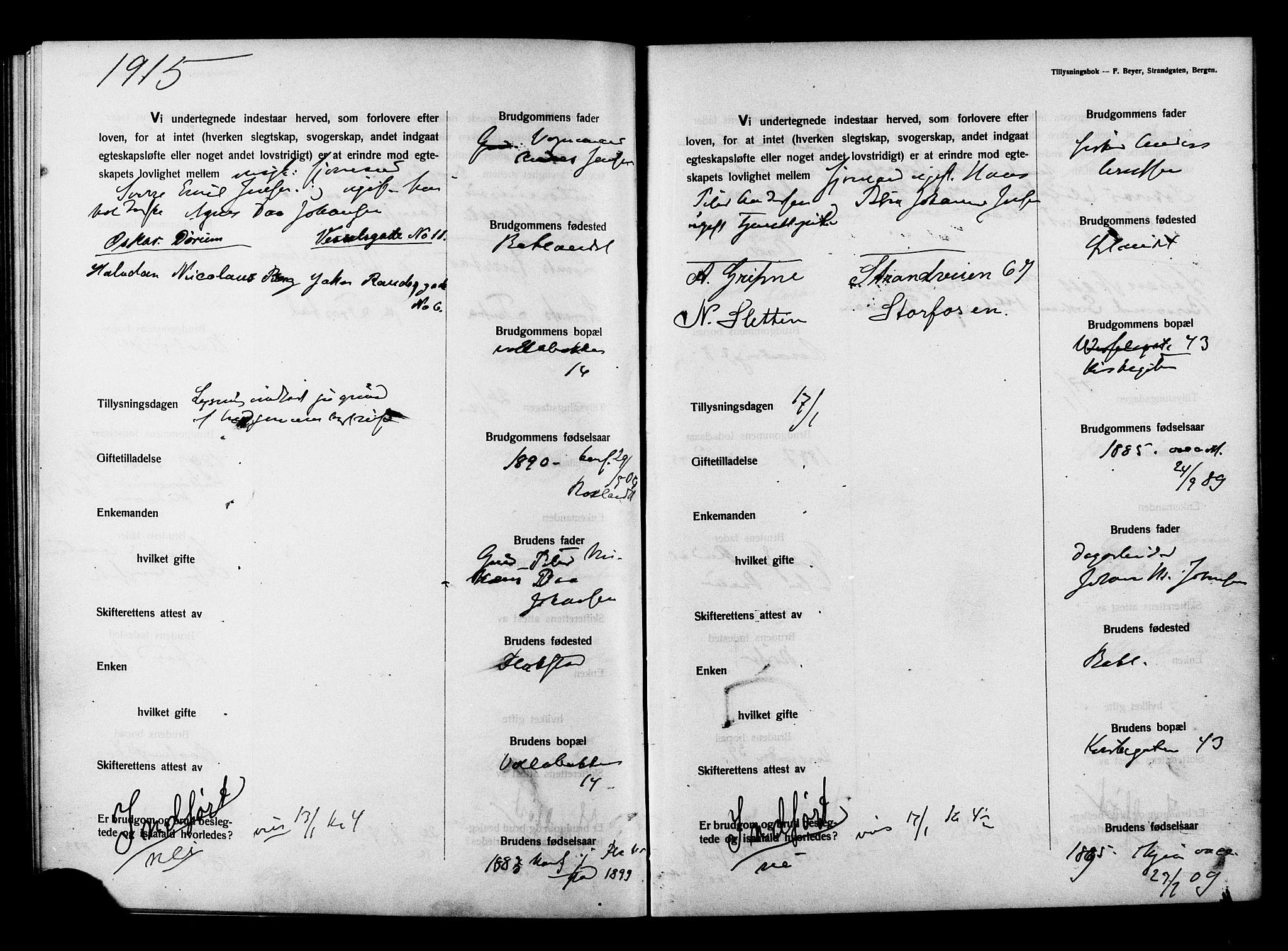 SAT, Ministerialprotokoller, klokkerbøker og fødselsregistre - Sør-Trøndelag, 604/L0194: Lysningsprotokoll nr. 604A15, 1912-1916