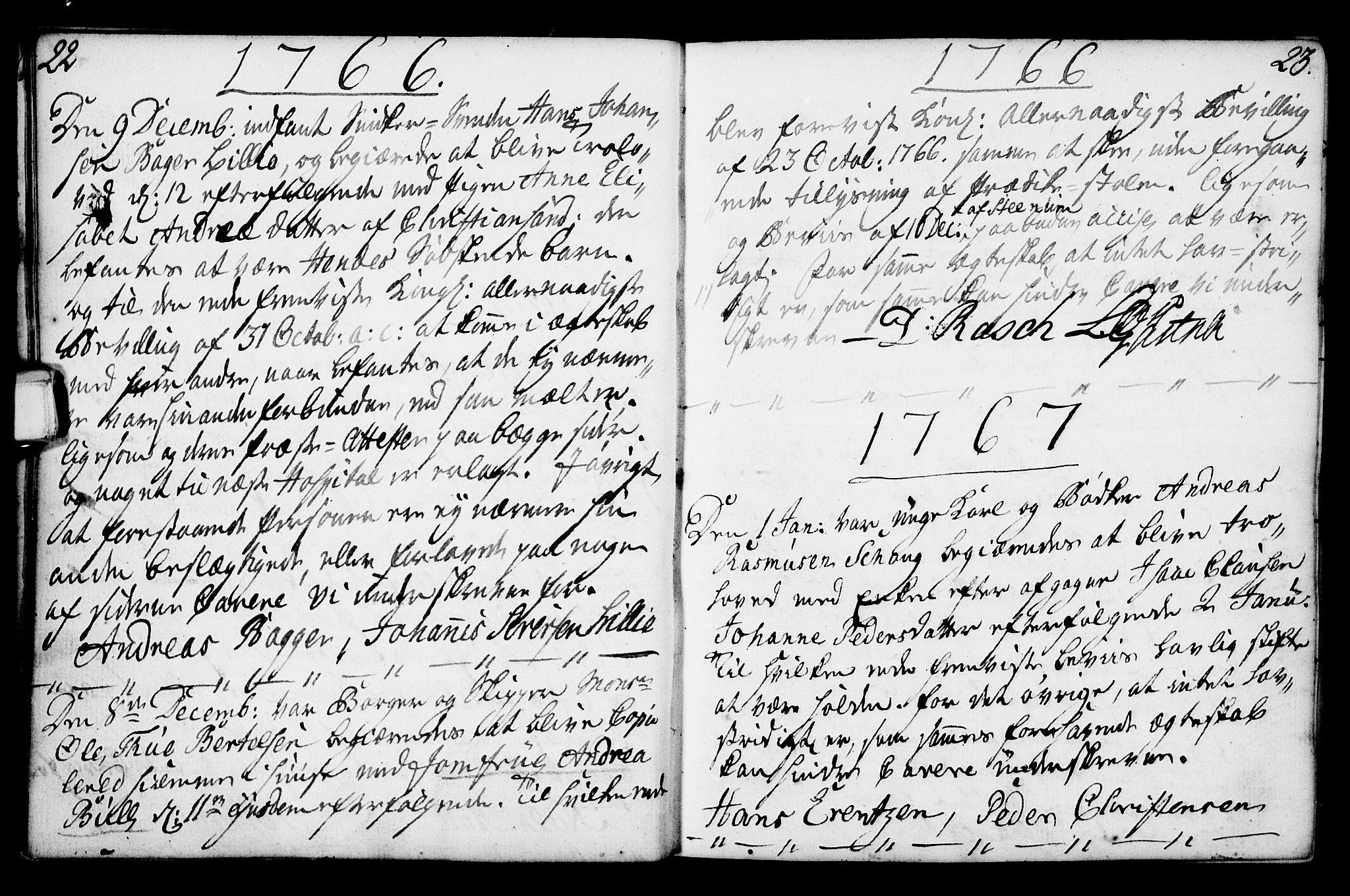SAKO, Porsgrunn kirkebøker , F/Fa/L0003: Ministerialbok nr. 3, 1764-1814, s. 22-23