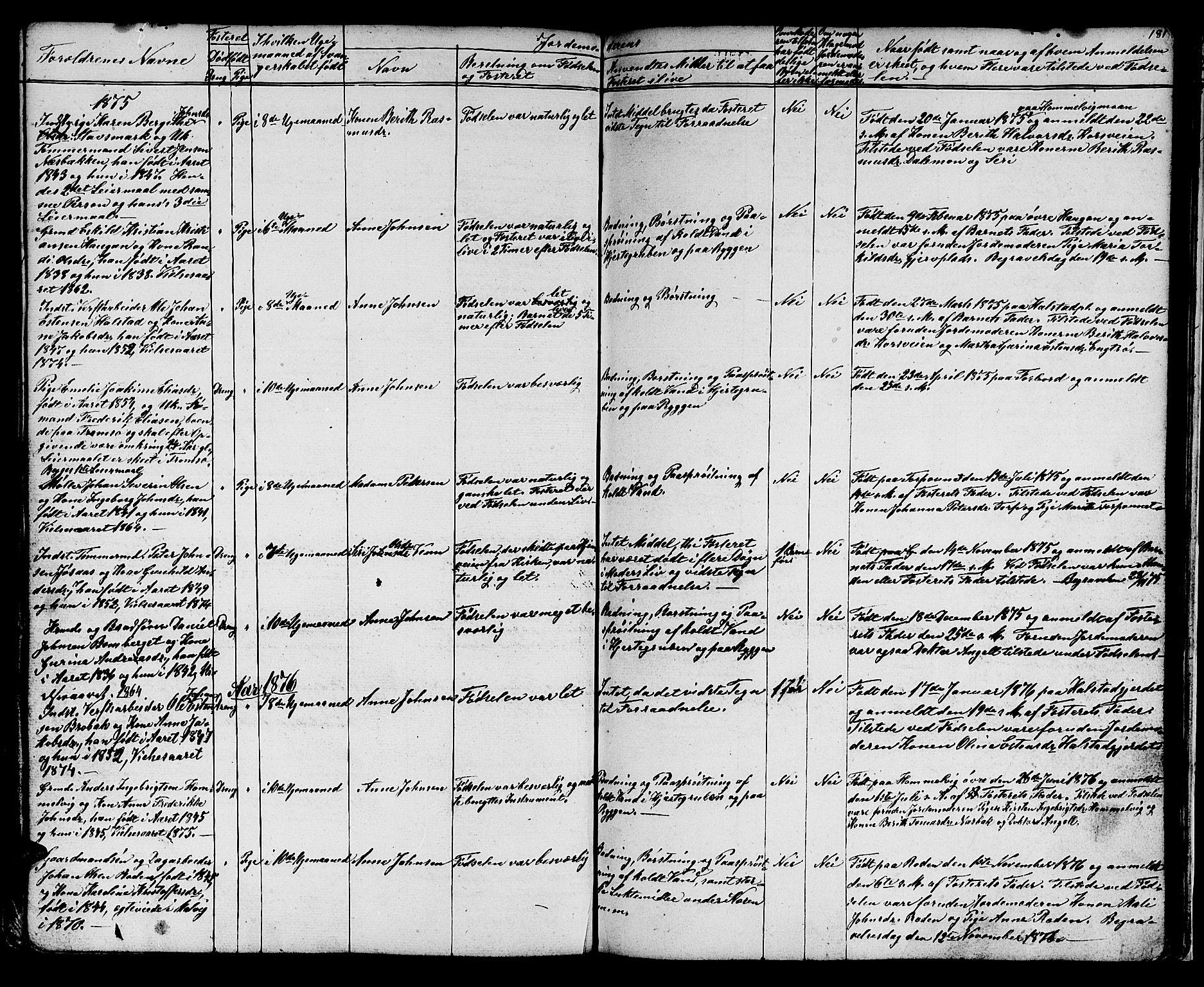 SAT, Ministerialprotokoller, klokkerbøker og fødselsregistre - Sør-Trøndelag, 616/L0422: Klokkerbok nr. 616C05, 1850-1888, s. 181