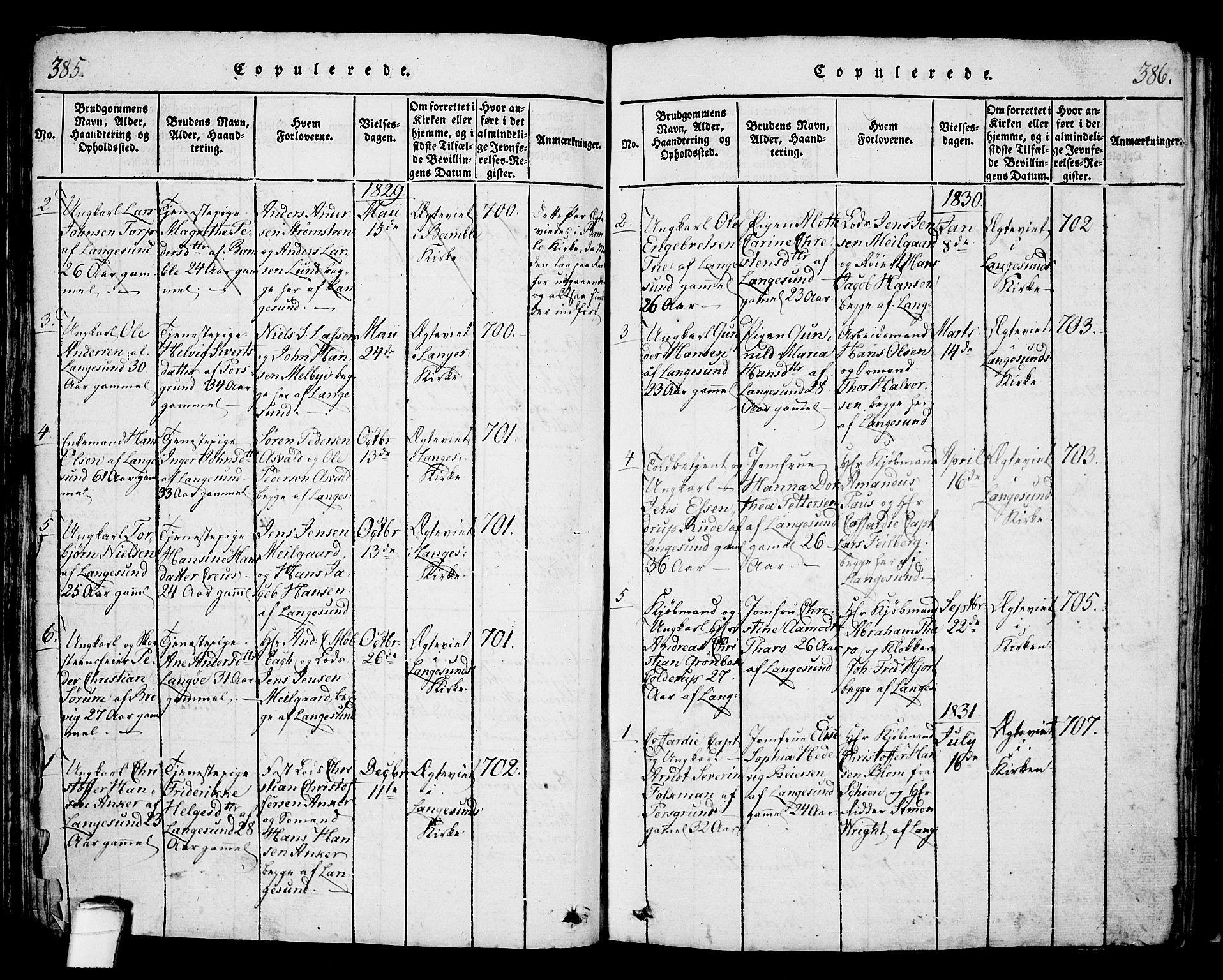 SAKO, Langesund kirkebøker, G/Ga/L0003: Klokkerbok nr. 3, 1815-1858, s. 385-386