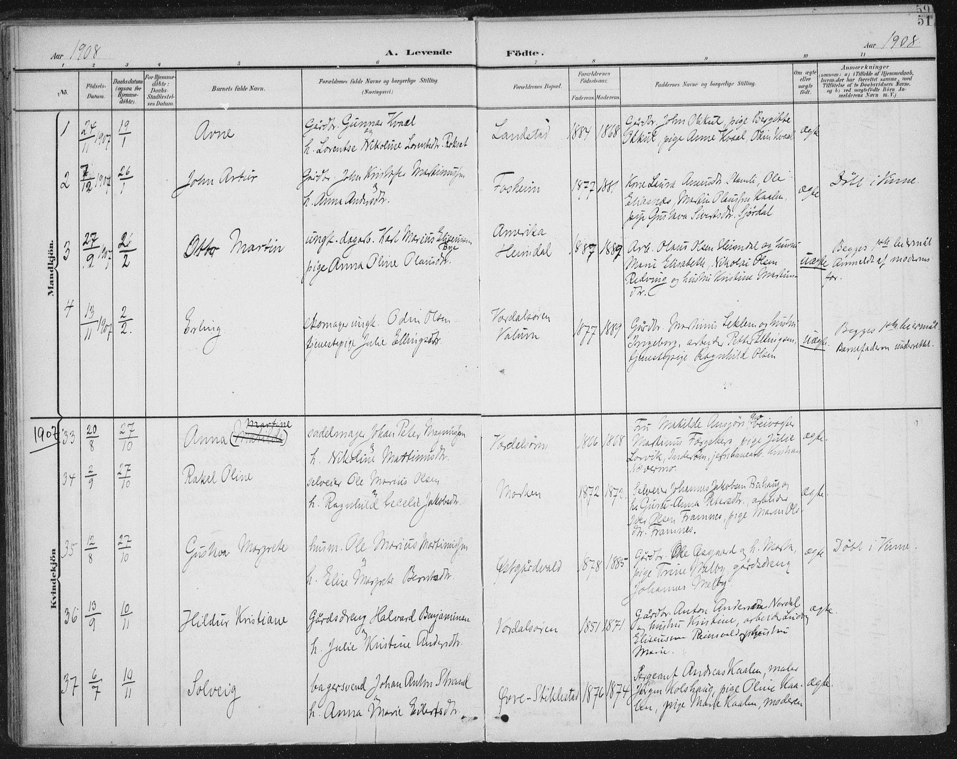 SAT, Ministerialprotokoller, klokkerbøker og fødselsregistre - Nord-Trøndelag, 723/L0246: Ministerialbok nr. 723A15, 1900-1917, s. 51