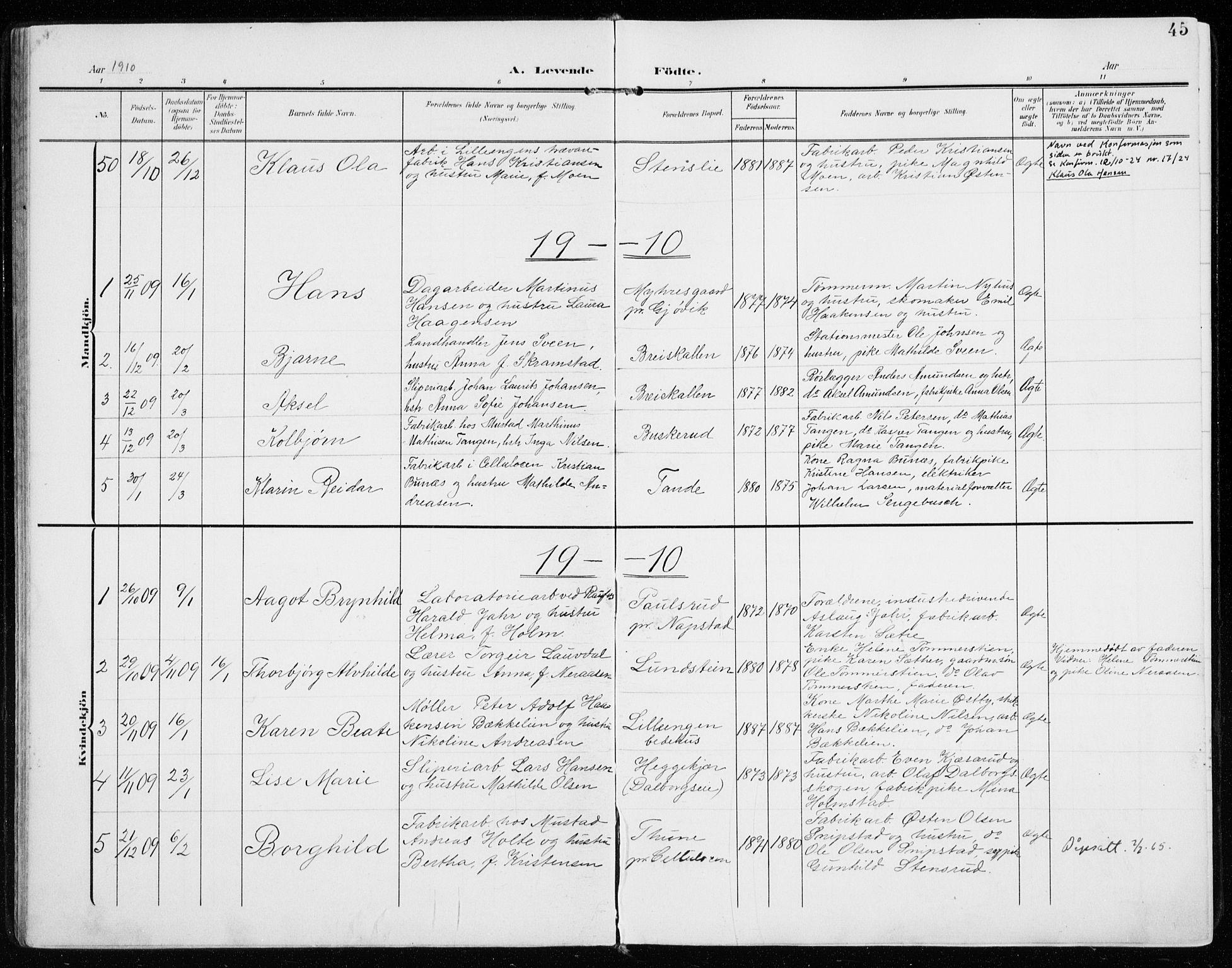 SAH, Vardal prestekontor, H/Ha/Haa/L0016: Ministerialbok nr. 16, 1904-1916, s. 45