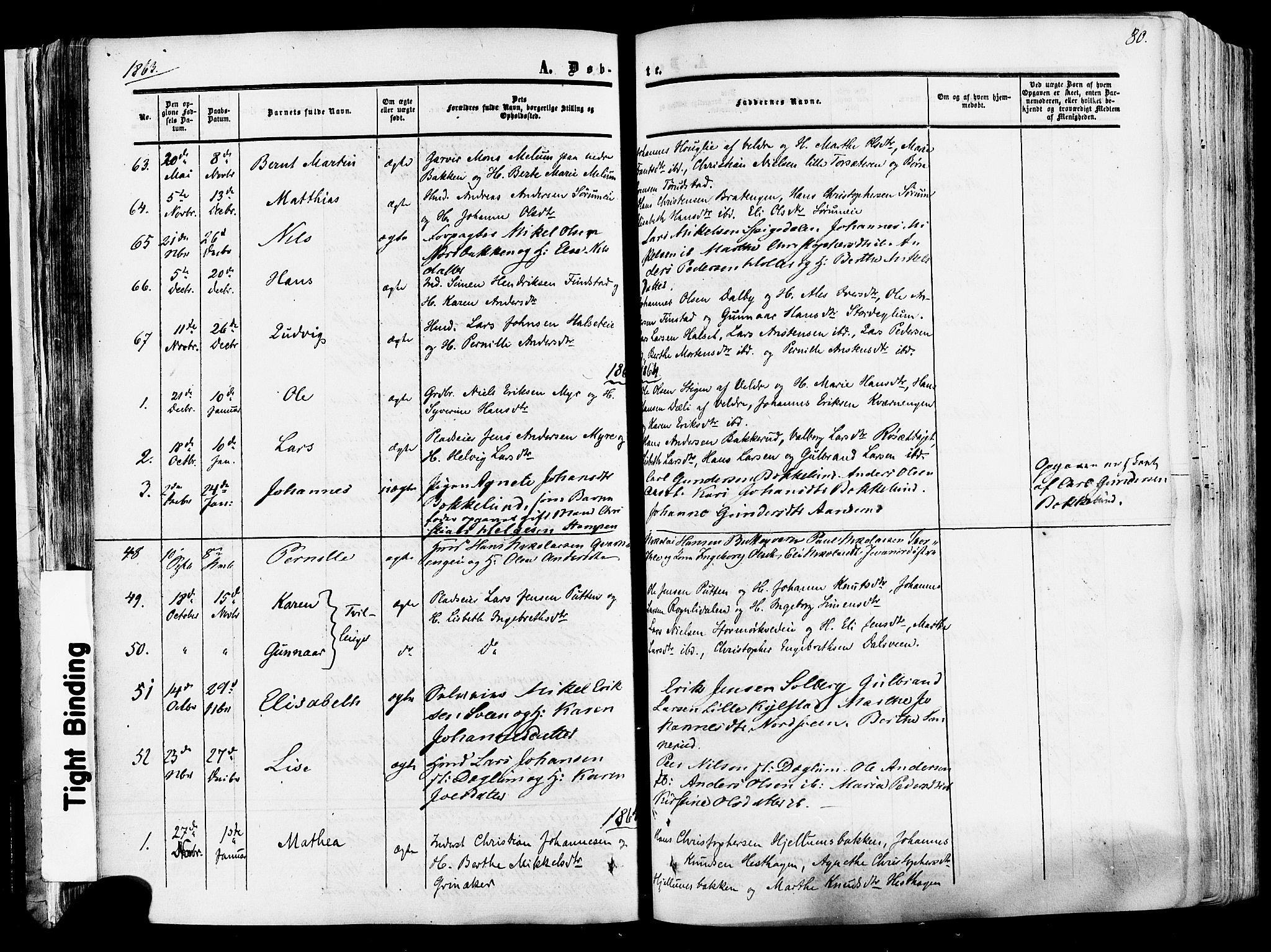 SAH, Vang prestekontor, Hedmark, H/Ha/Haa/L0013: Ministerialbok nr. 13, 1855-1879, s. 80