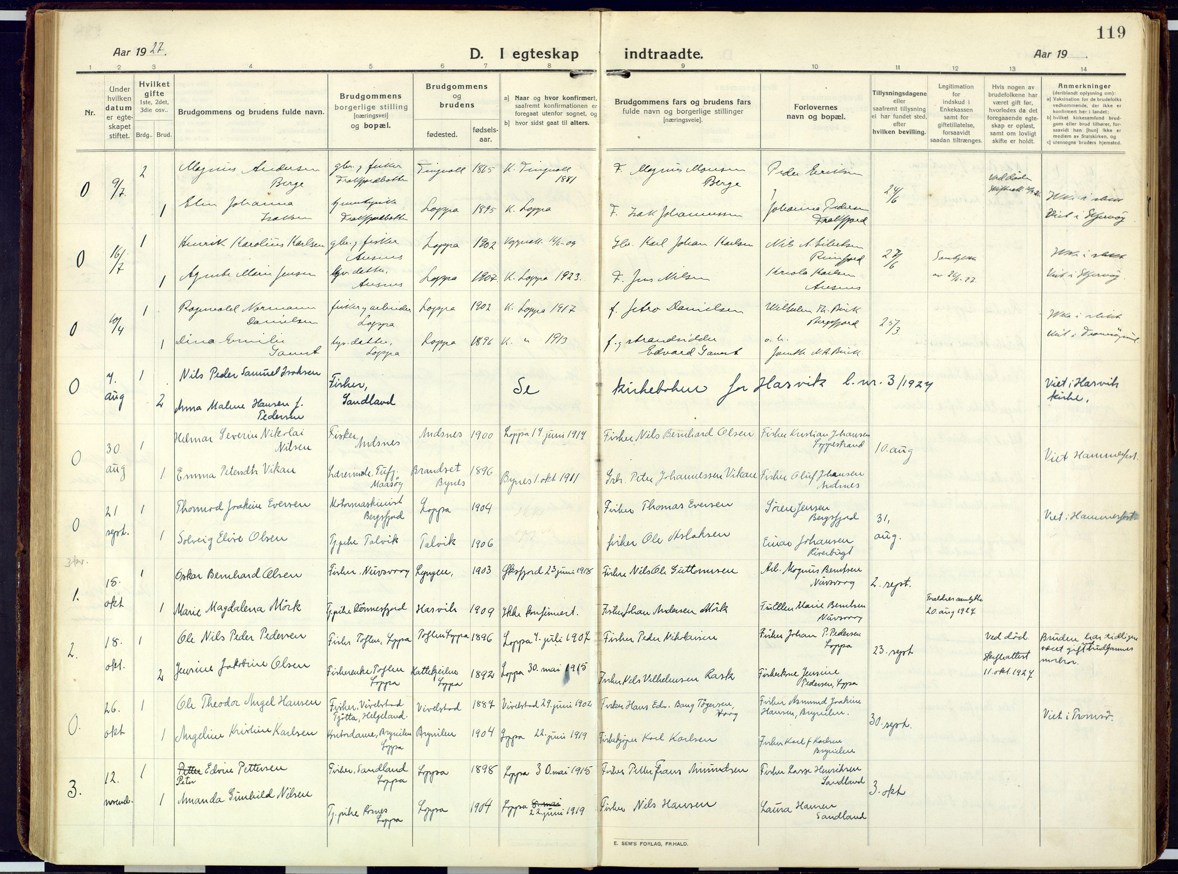 SATØ, Loppa sokneprestkontor, H/Ha/L0013kirke: Ministerialbok nr. 13, 1920-1932, s. 119