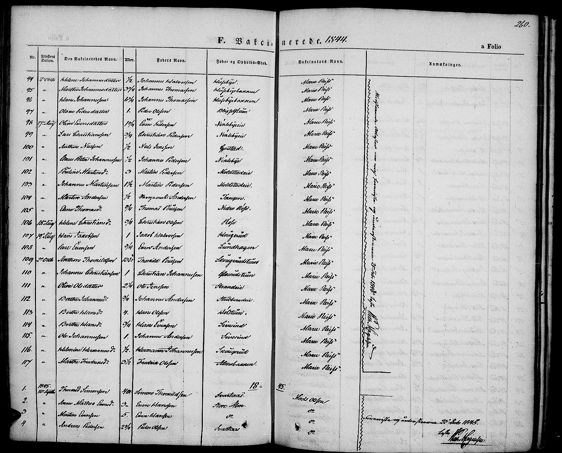 SAH, Vestre Toten prestekontor, H/Ha/Haa/L0004: Ministerialbok nr. 4, 1844-1849, s. 260
