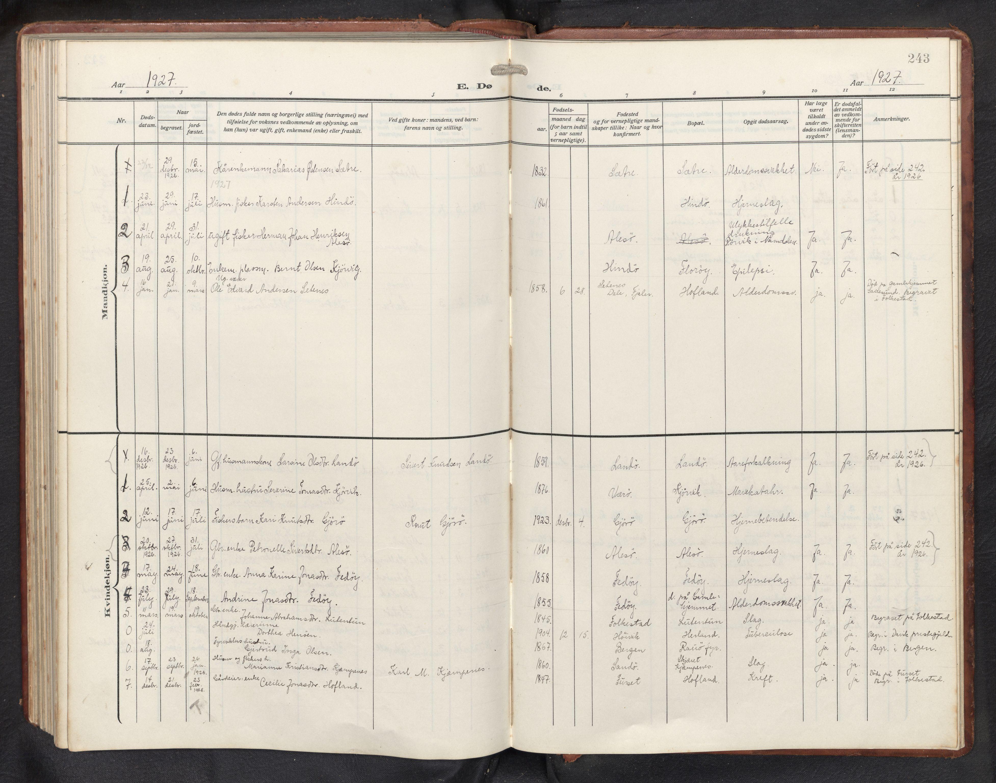 SAB, Askvoll sokneprestembete, H/Hab/Habb/L0002: Klokkerbok nr. B 2, 1910-1947, s. 242b-243a