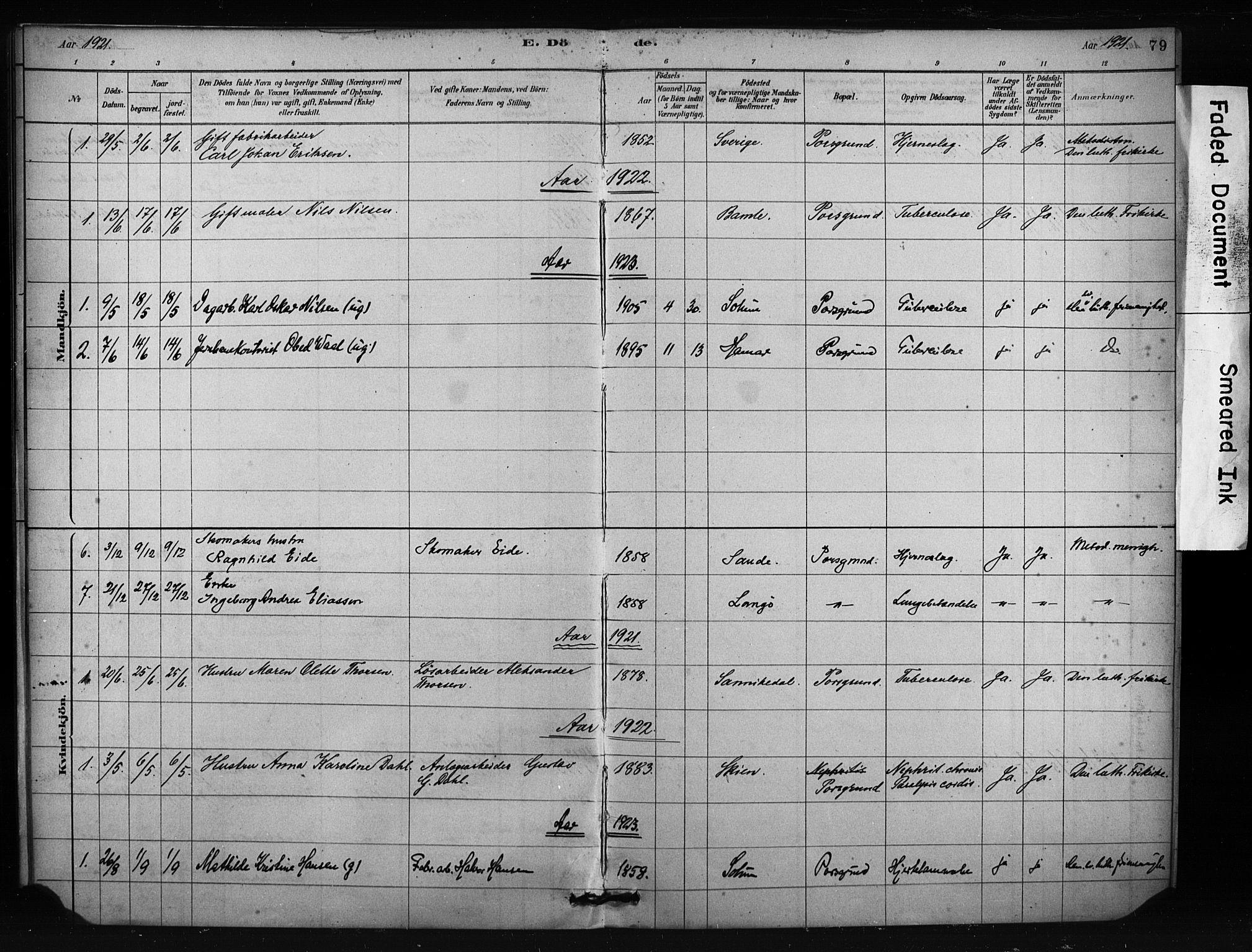 SAKO, Porsgrunn kirkebøker , F/Fa/L0009: Ministerialbok nr. 9, 1878-1923, s. 79