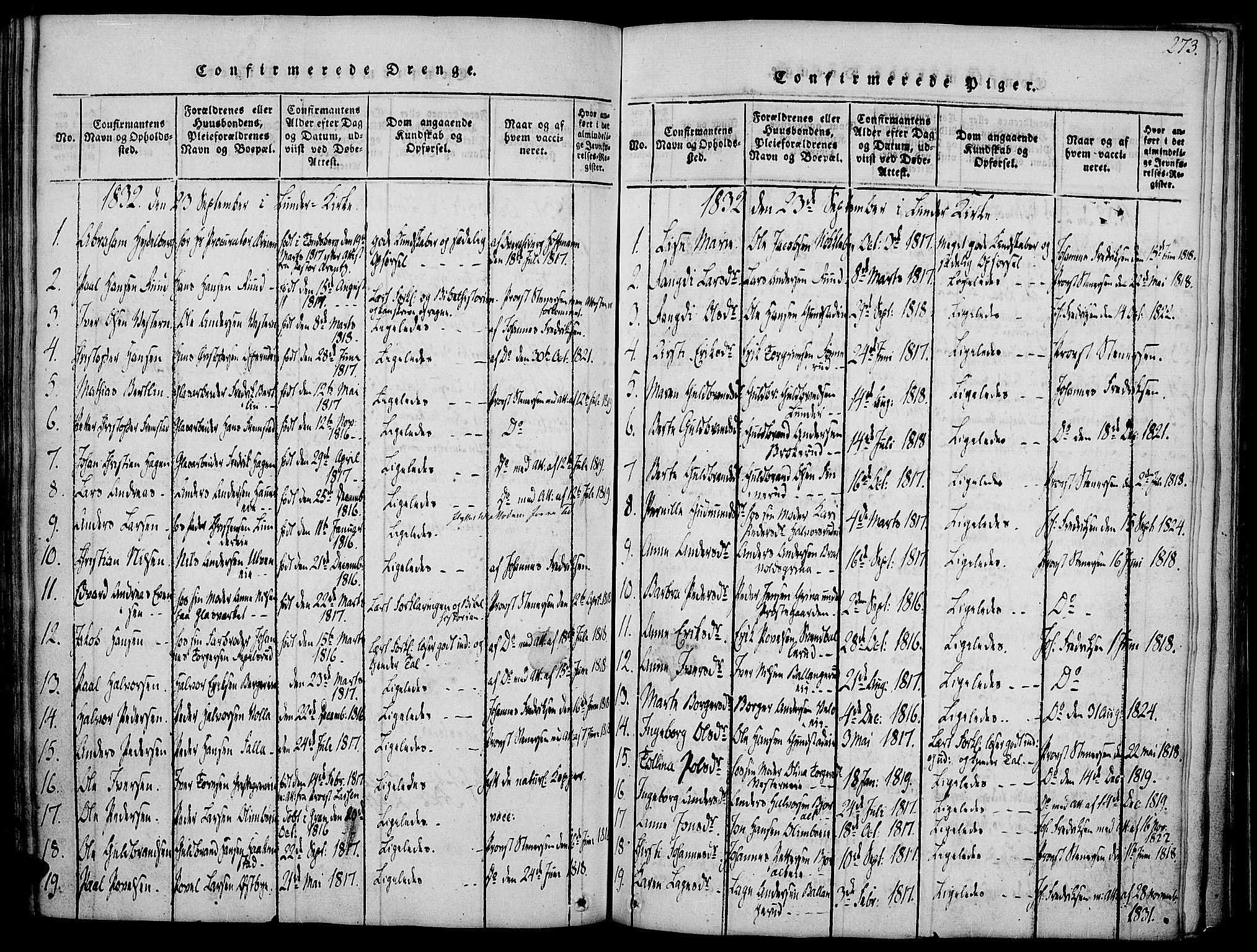 SAH, Jevnaker prestekontor, Ministerialbok nr. 5, 1815-1837, s. 273
