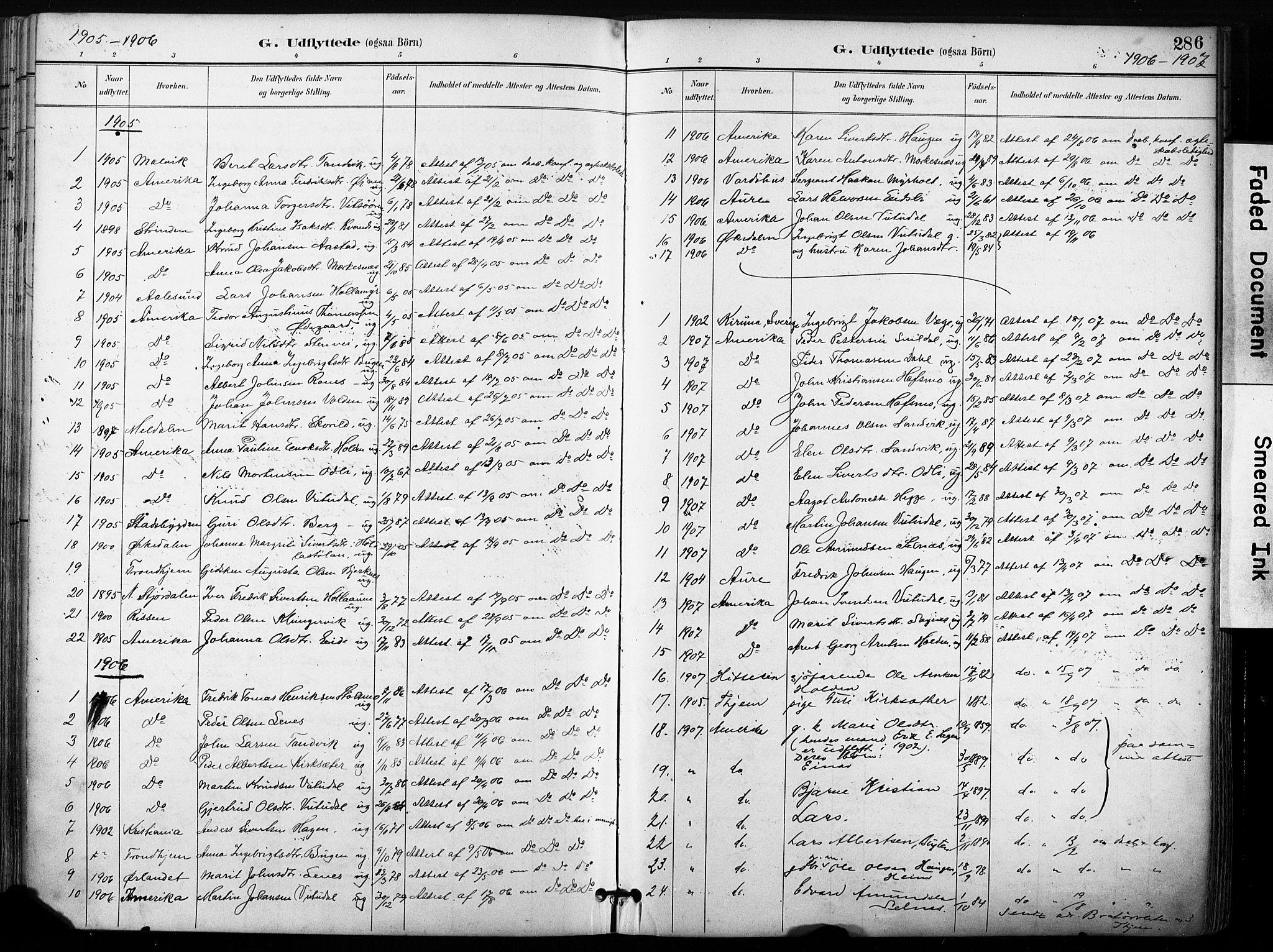 SAT, Ministerialprotokoller, klokkerbøker og fødselsregistre - Sør-Trøndelag, 630/L0497: Ministerialbok nr. 630A10, 1896-1910, s. 286