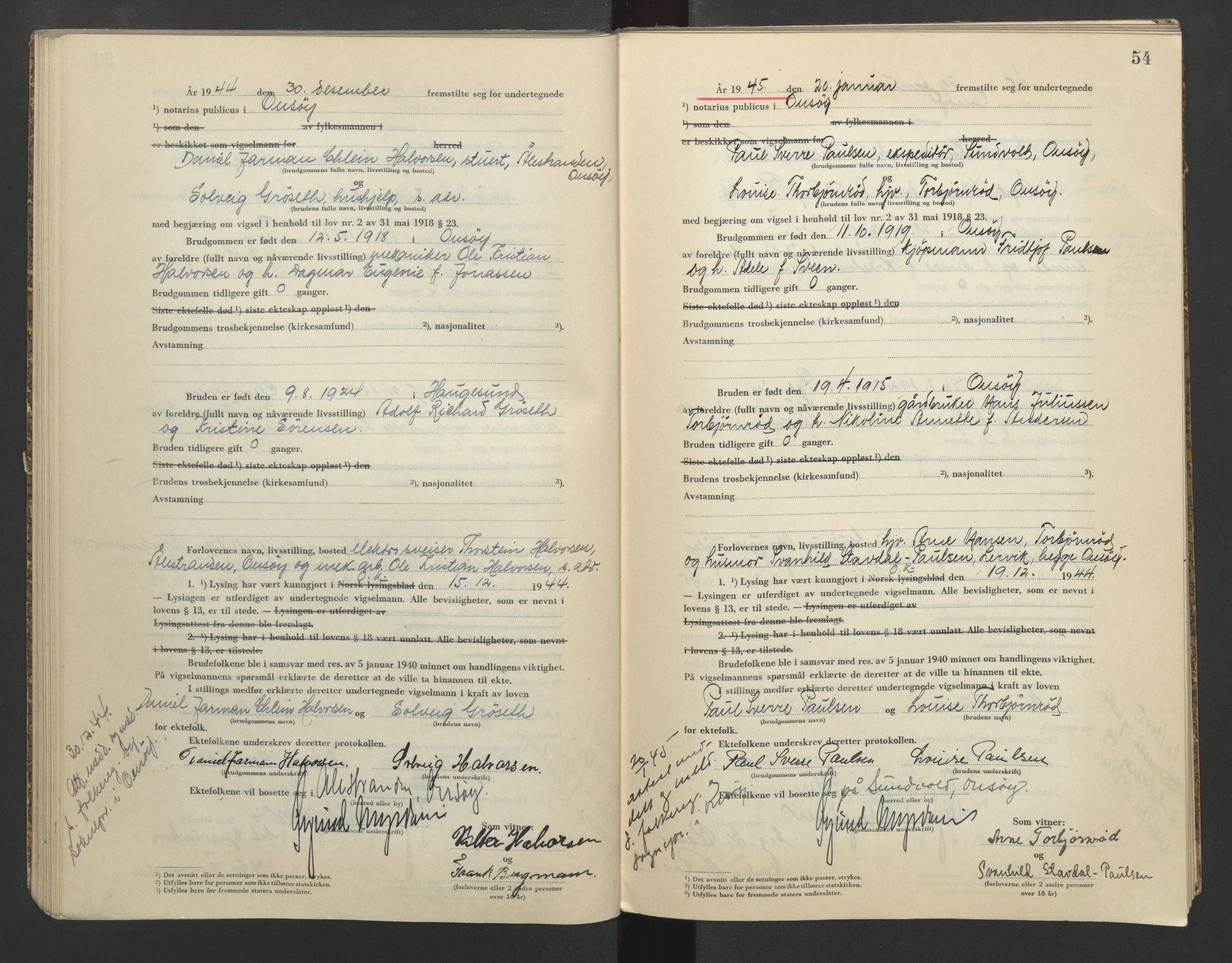 SAO, Onsøy sorenskriveri, L/La/L0005: Vigselsbok, 1944-1946, s. 54