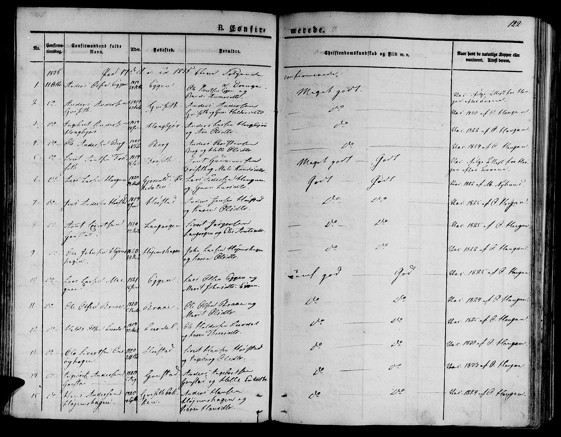 SAT, Ministerialprotokoller, klokkerbøker og fødselsregistre - Sør-Trøndelag, 612/L0374: Ministerialbok nr. 612A07 /1, 1829-1845, s. 122