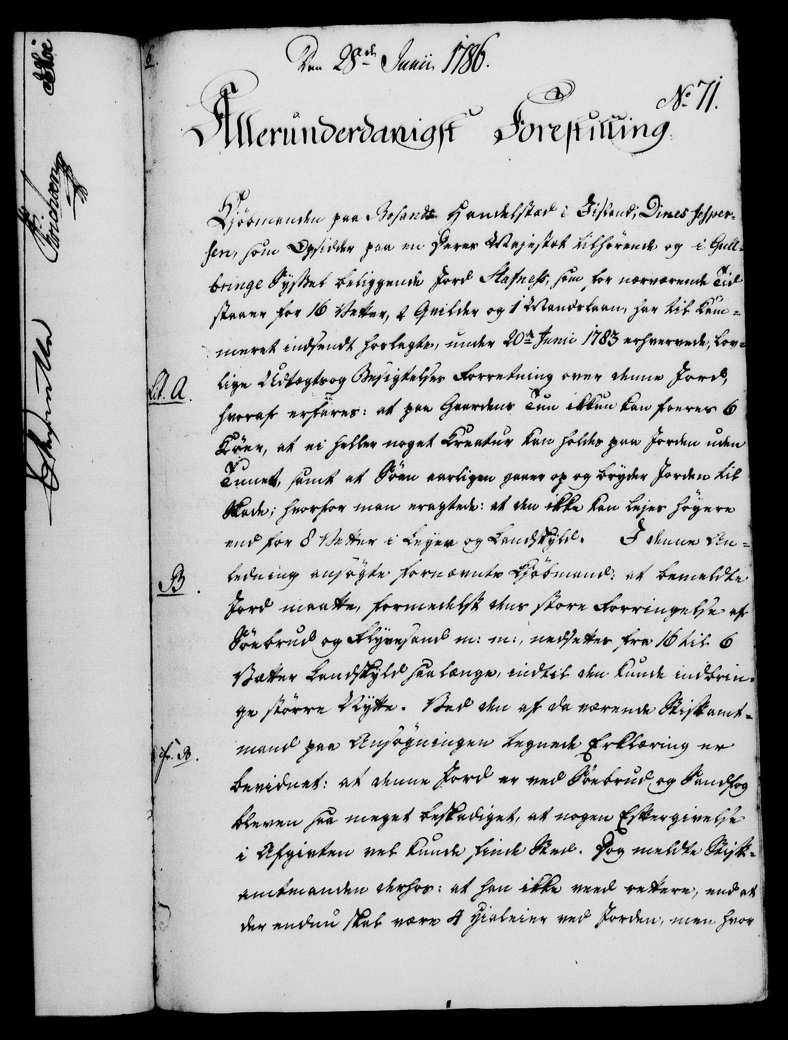 RA, Rentekammeret, Kammerkanselliet, G/Gf/Gfa/L0068: Norsk relasjons- og resolusjonsprotokoll (merket RK 52.68), 1786, s. 458