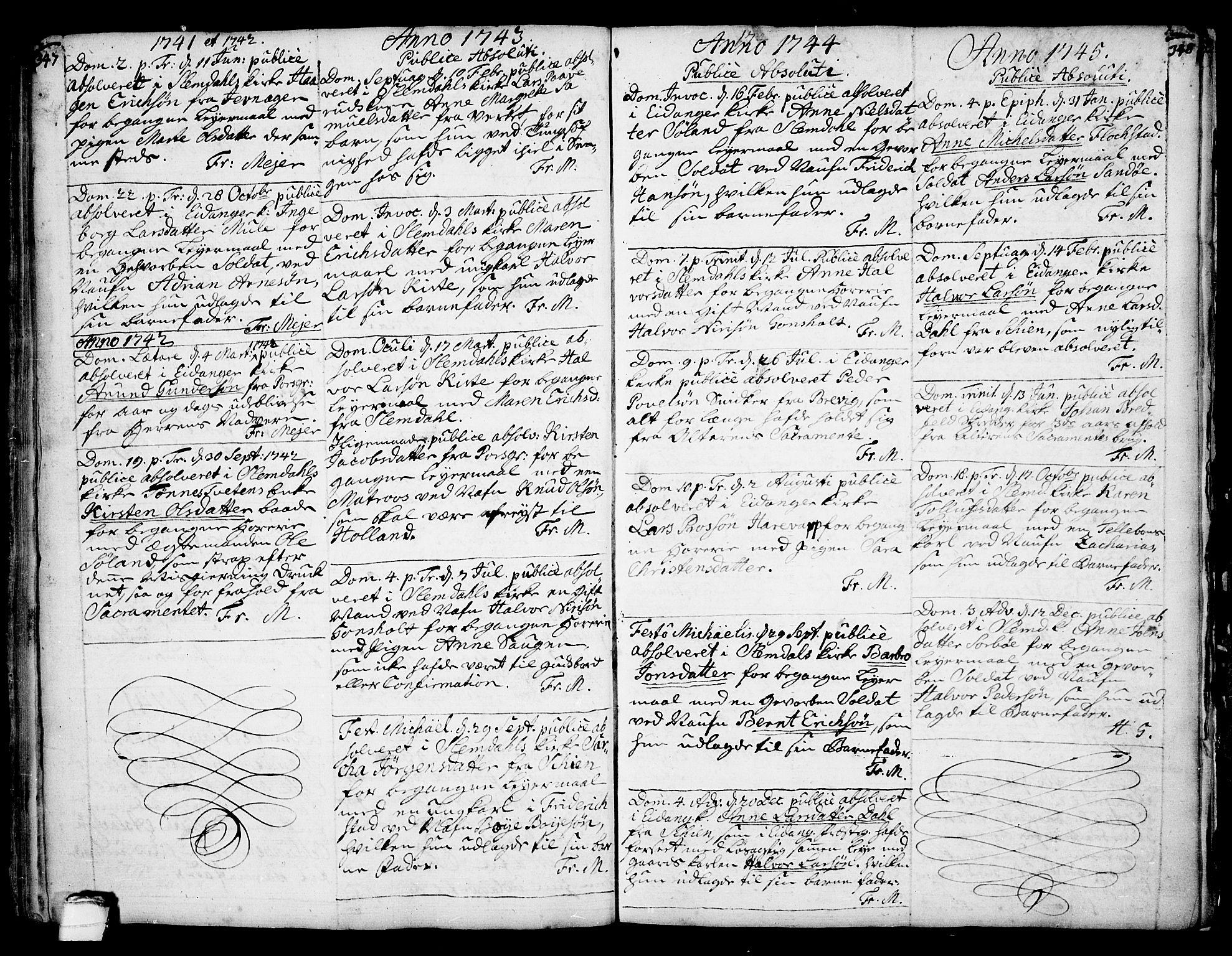 SAKO, Eidanger kirkebøker, F/Fa/L0004: Ministerialbok nr. 4, 1733-1759, s. 347-348