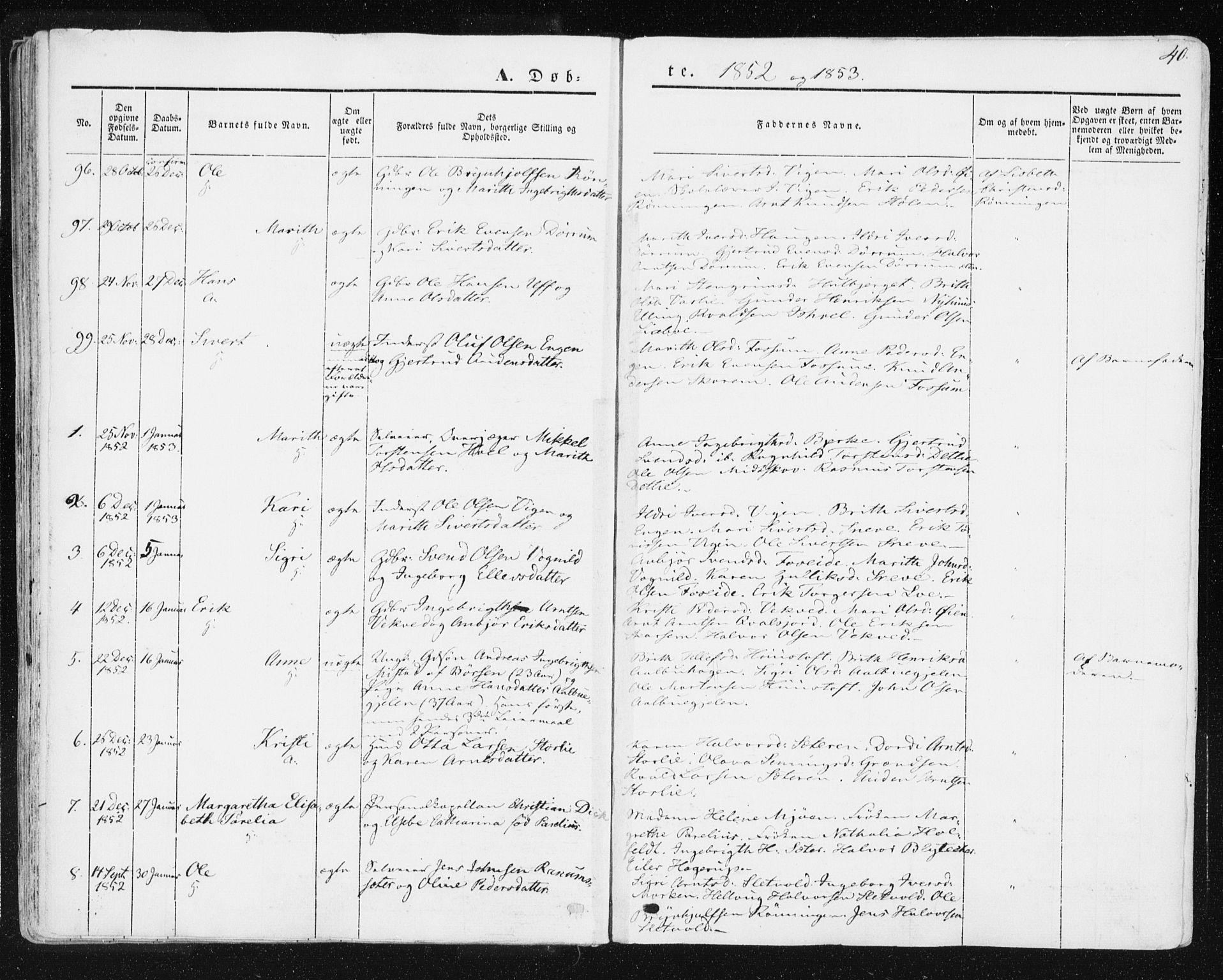 SAT, Ministerialprotokoller, klokkerbøker og fødselsregistre - Sør-Trøndelag, 678/L0899: Ministerialbok nr. 678A08, 1848-1872, s. 40