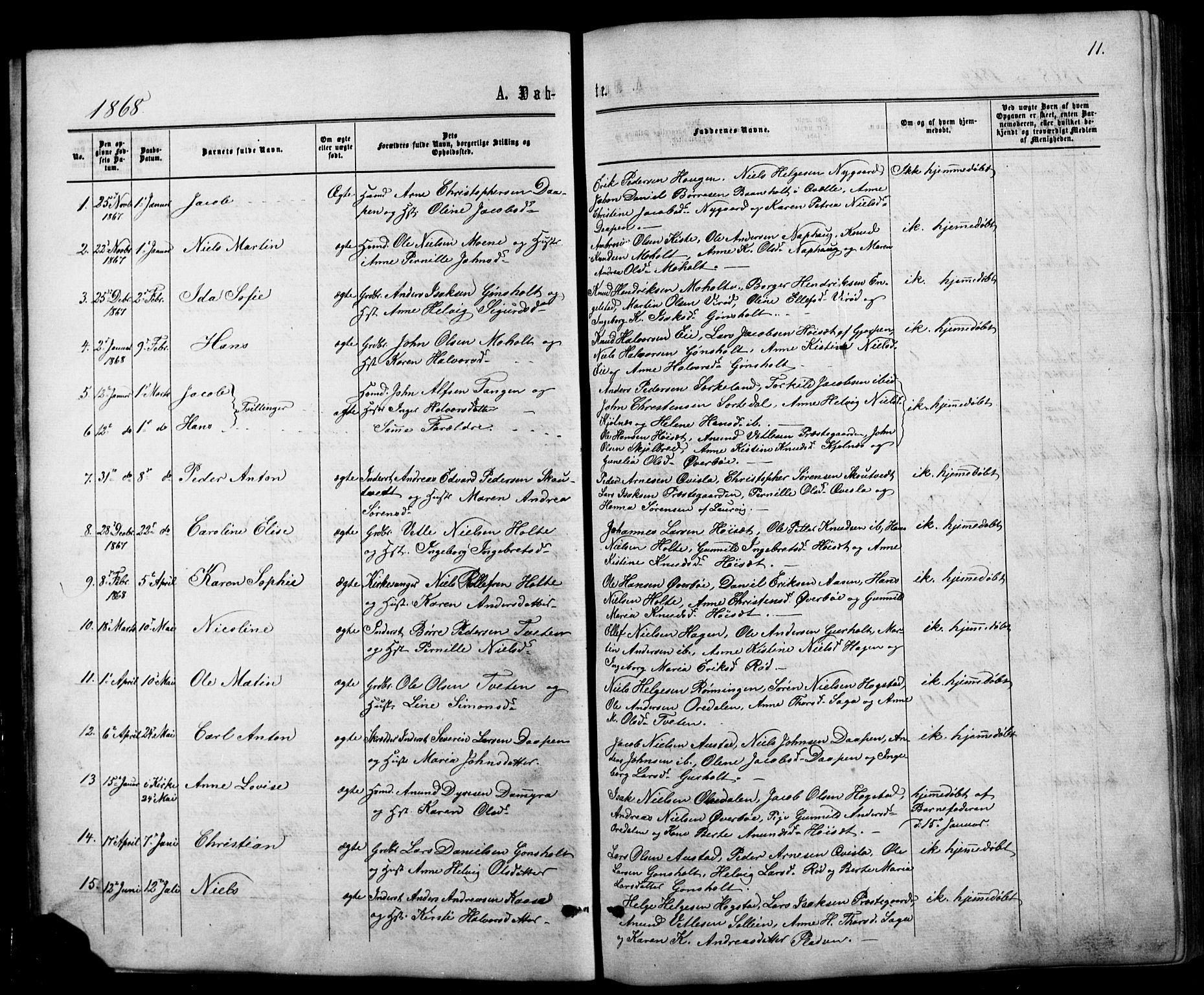 SAKO, Siljan kirkebøker, G/Ga/L0002: Klokkerbok nr. 2, 1864-1908, s. 11