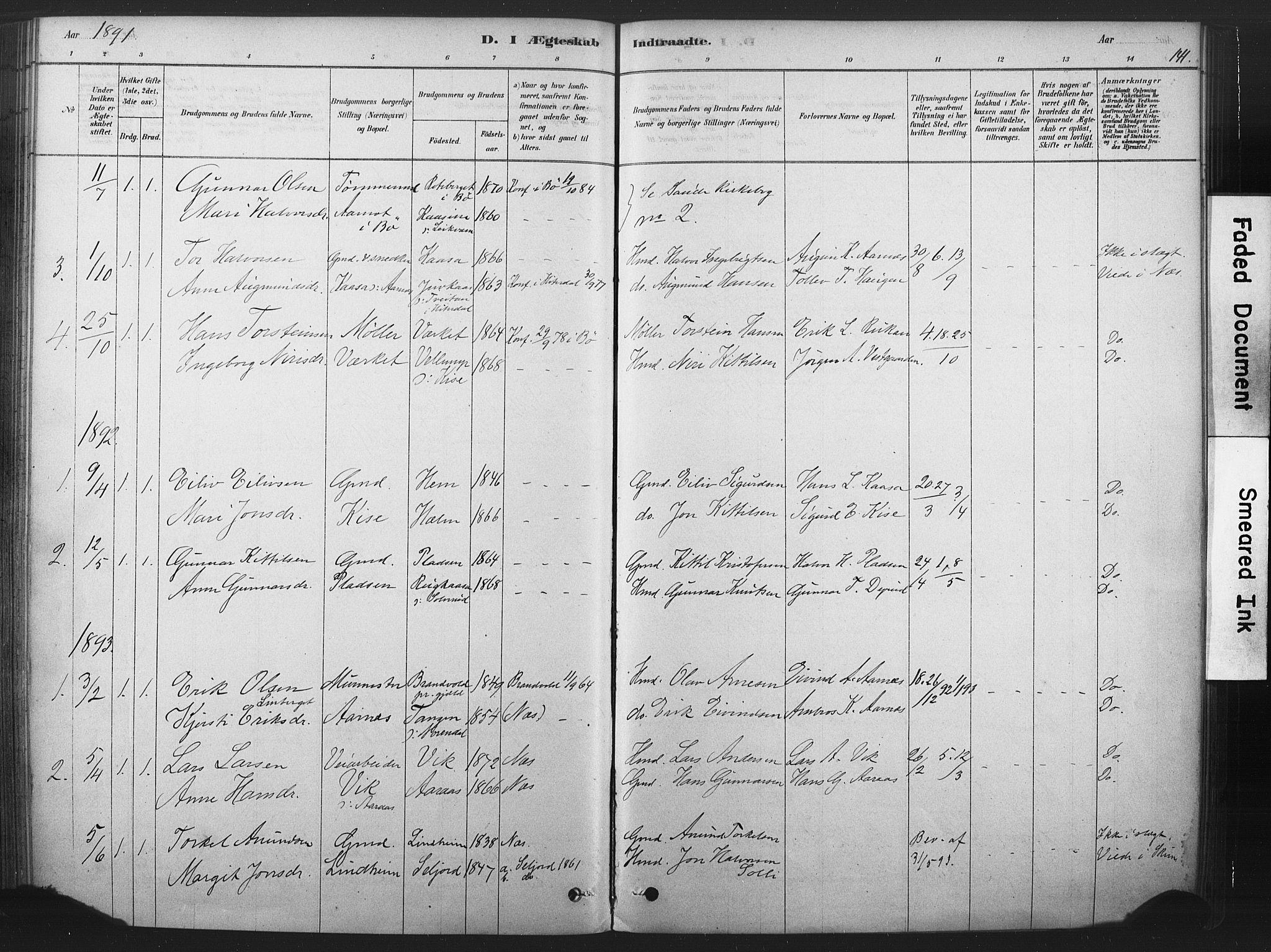 SAKO, Sauherad kirkebøker, F/Fb/L0002: Ministerialbok nr. II 2, 1878-1901, s. 141