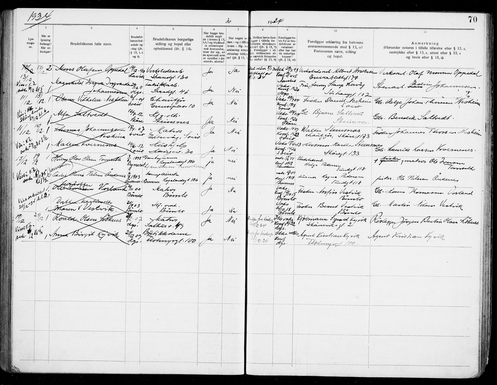SAST, Haugesund sokneprestkontor, I/Ie/L0006: Lysningsprotokoll nr. VIII 6, 1926-1936, s. 70