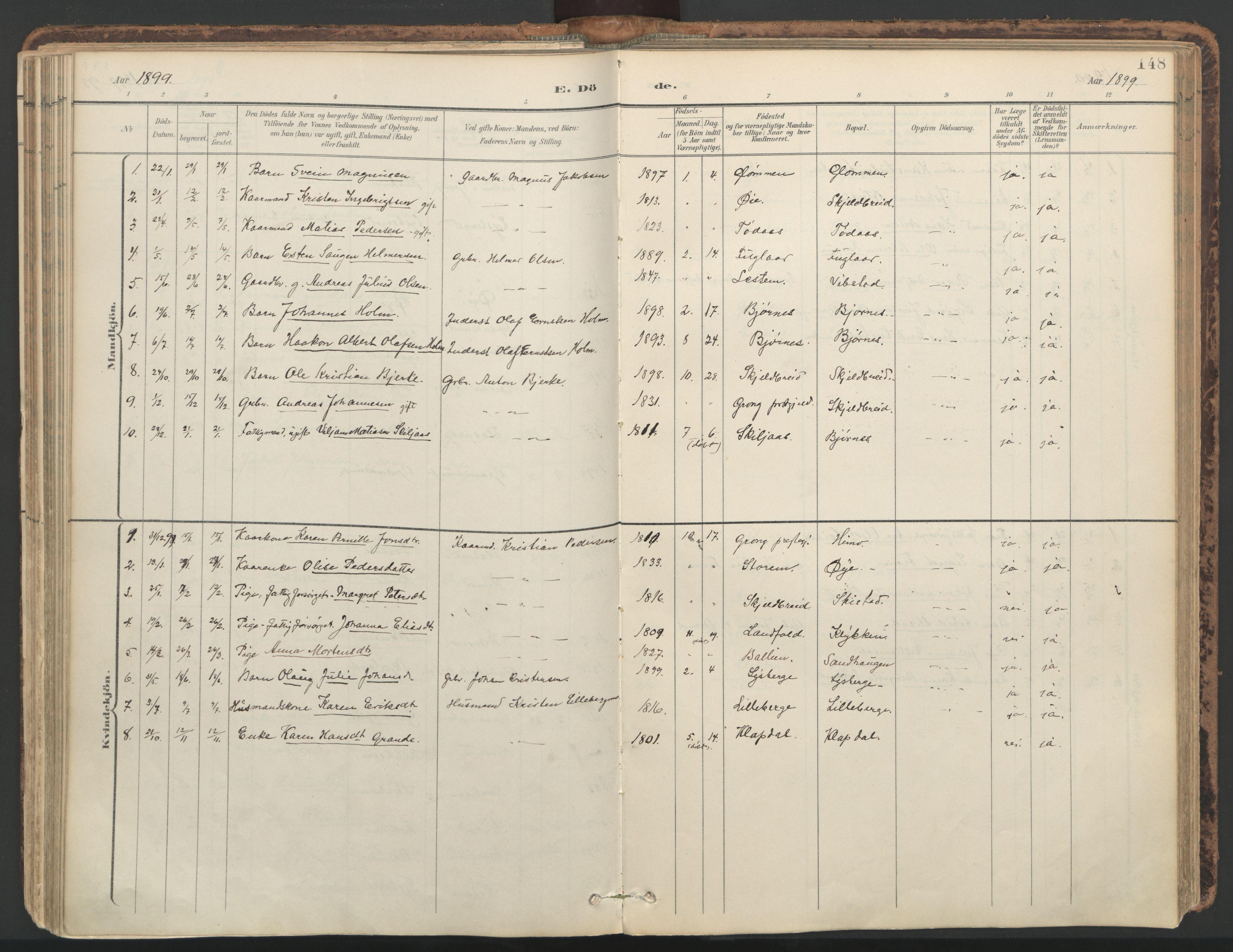 SAT, Ministerialprotokoller, klokkerbøker og fødselsregistre - Nord-Trøndelag, 764/L0556: Ministerialbok nr. 764A11, 1897-1924, s. 148