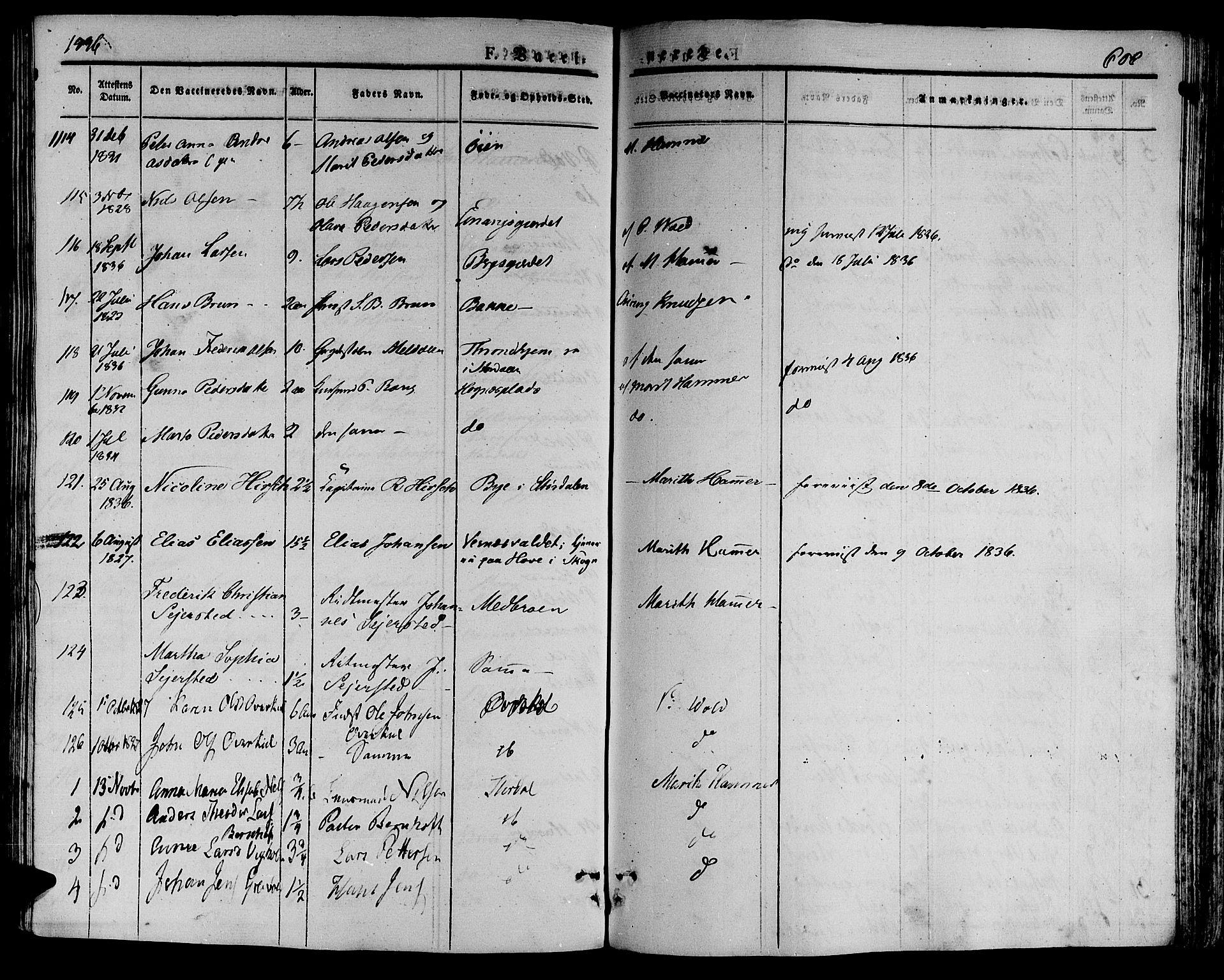 SAT, Ministerialprotokoller, klokkerbøker og fødselsregistre - Nord-Trøndelag, 709/L0072: Ministerialbok nr. 709A12, 1833-1844, s. 606