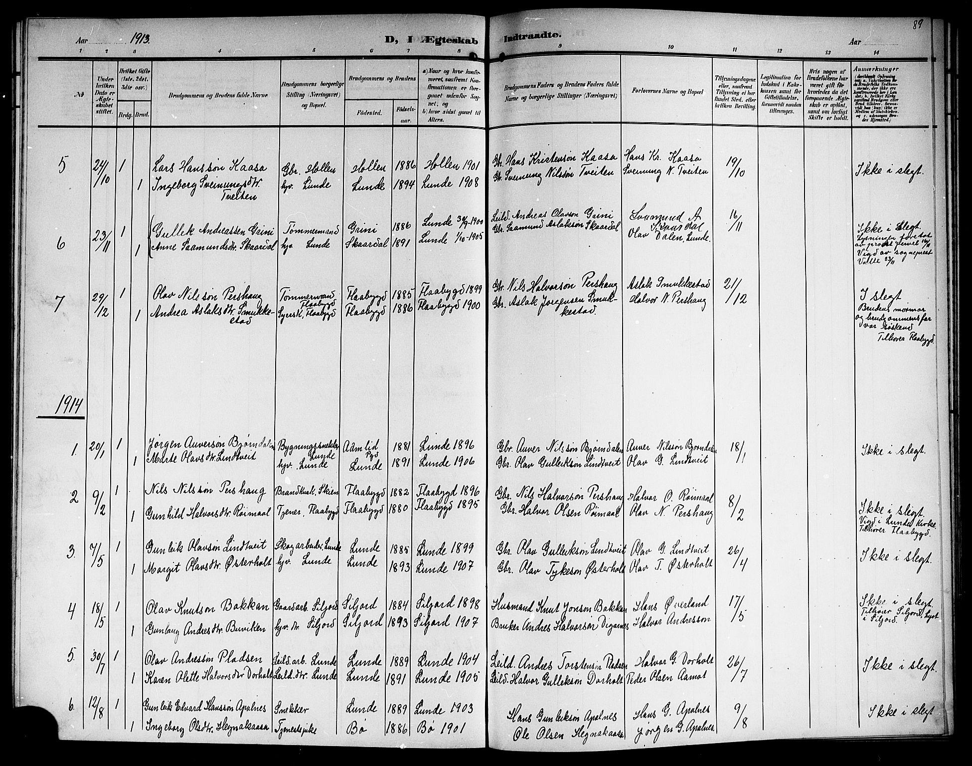 SAKO, Lunde kirkebøker, G/Ga/L0004: Klokkerbok nr. I 4, 1906-1914, s. 89