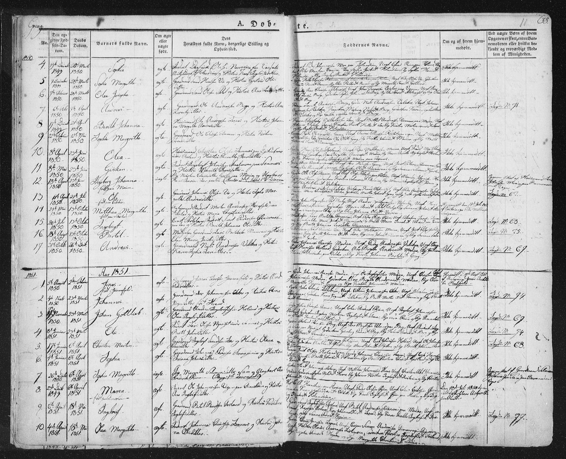SAT, Ministerialprotokoller, klokkerbøker og fødselsregistre - Nord-Trøndelag, 758/L0513: Ministerialbok nr. 758A02 /1, 1839-1868, s. 11