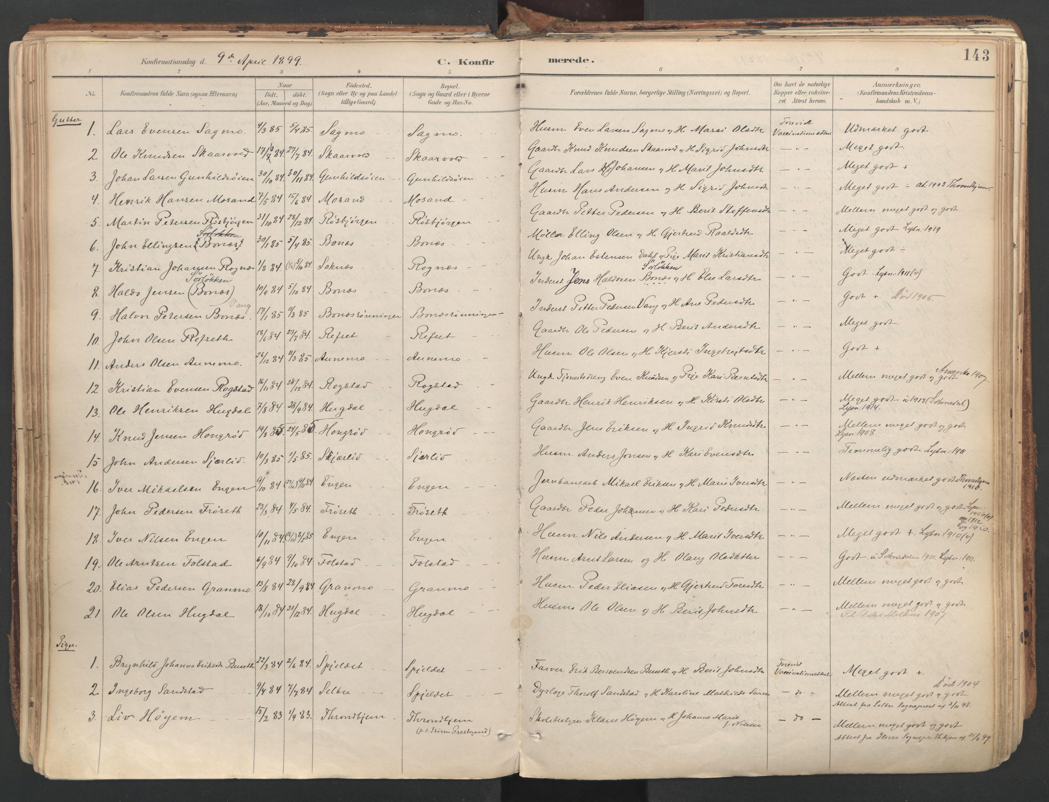 SAT, Ministerialprotokoller, klokkerbøker og fødselsregistre - Sør-Trøndelag, 687/L1004: Ministerialbok nr. 687A10, 1891-1923, s. 143
