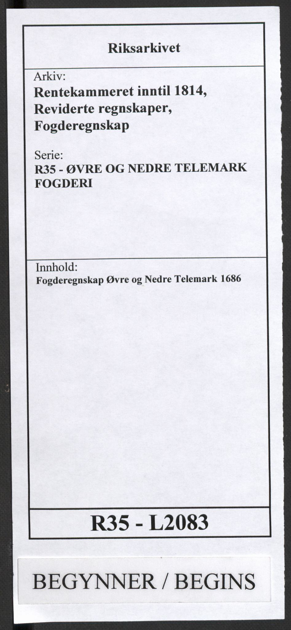RA, Rentekammeret inntil 1814, Reviderte regnskaper, Fogderegnskap, R35/L2083: Fogderegnskap Øvre og Nedre Telemark, 1686, s. 1