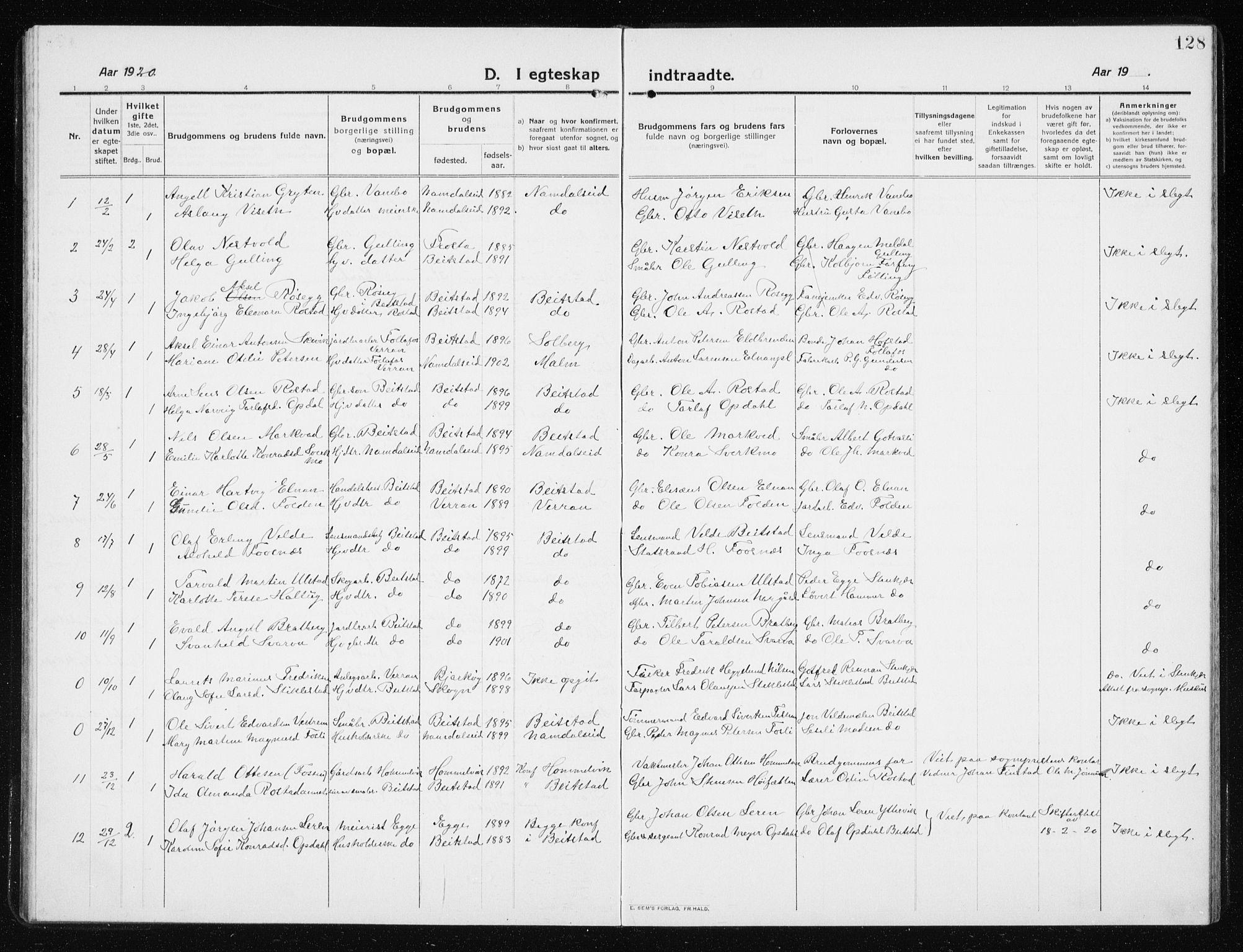 SAT, Ministerialprotokoller, klokkerbøker og fødselsregistre - Nord-Trøndelag, 741/L0402: Klokkerbok nr. 741C03, 1911-1926, s. 128