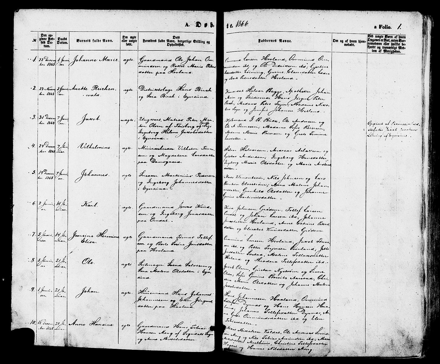 SAST, Egersund sokneprestkontor, Ministerialbok nr. A 13, 1866-1878, s. 1