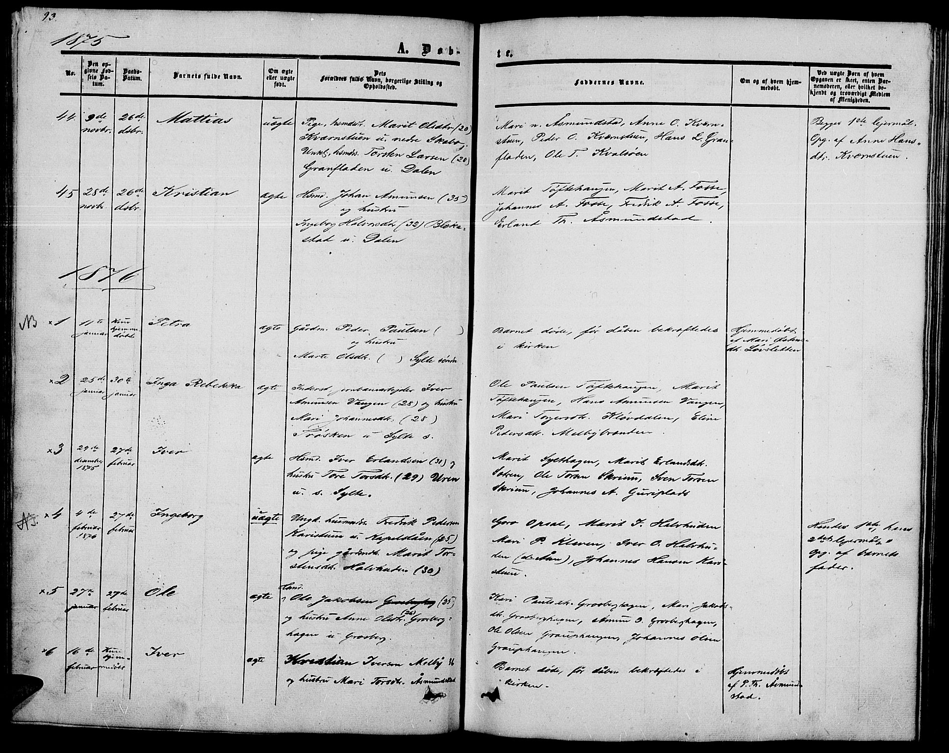 SAH, Nord-Fron prestekontor, Klokkerbok nr. 2, 1851-1883, s. 93