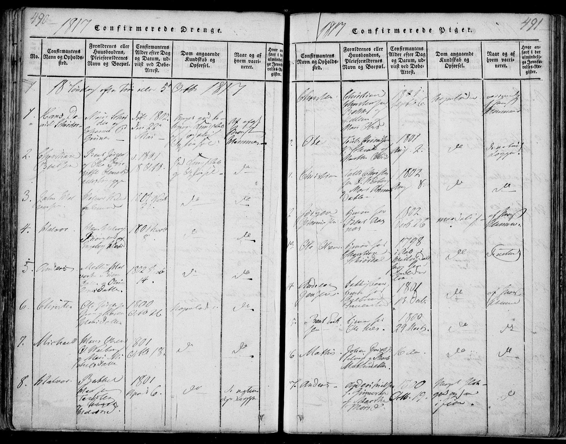 SAKO, Sande Kirkebøker, F/Fa/L0003: Ministerialbok nr. 3, 1814-1847, s. 490-491