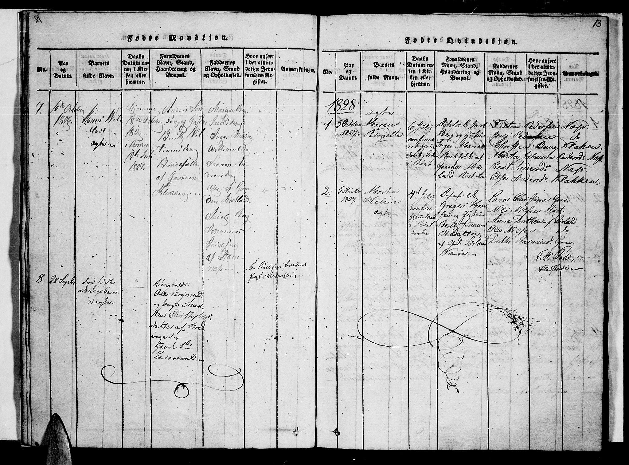 SAT, Ministerialprotokoller, klokkerbøker og fødselsregistre - Nordland, 807/L0120: Ministerialbok nr. 807A03, 1821-1848, s. 13